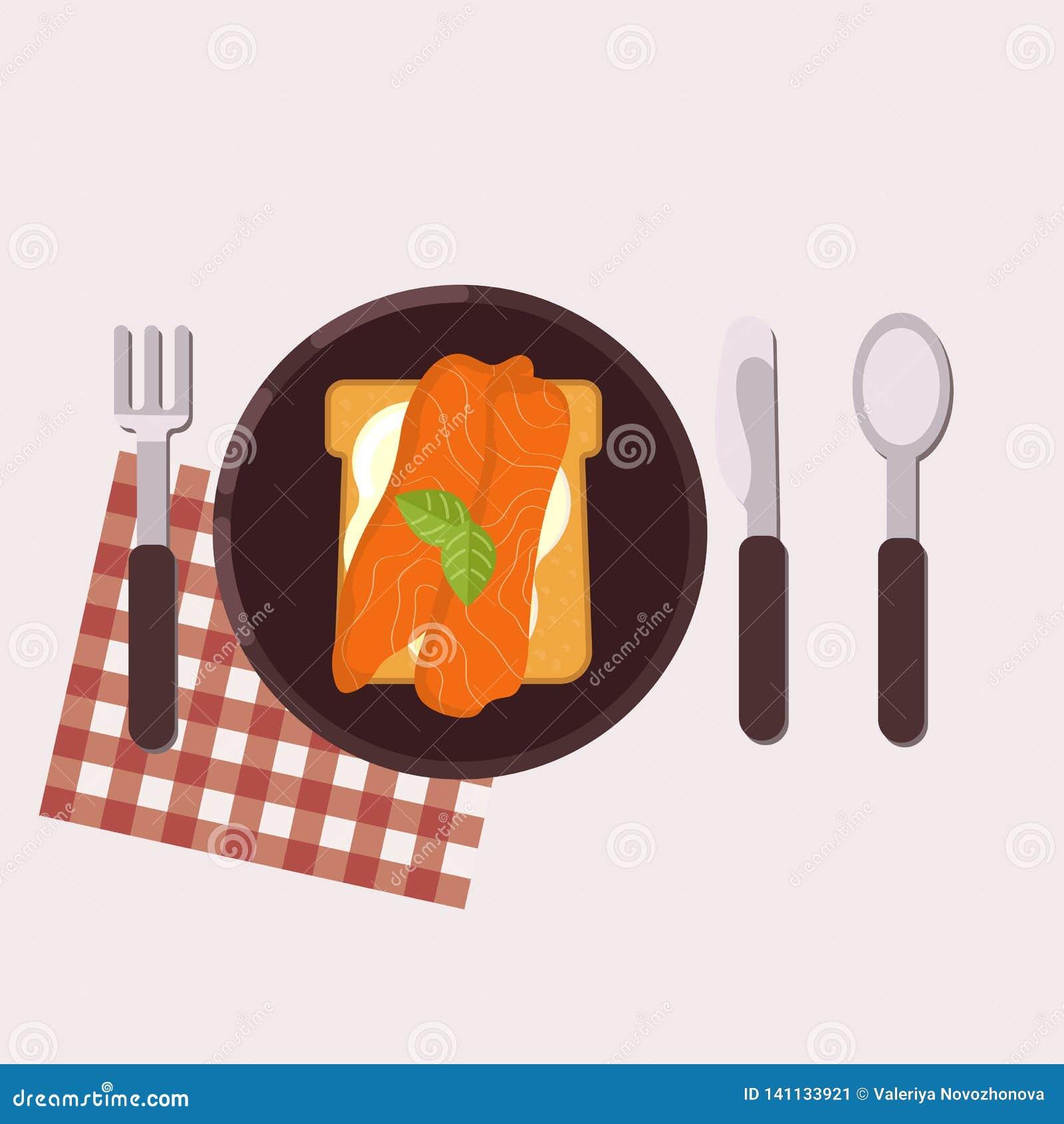 De toost met roomkaas, zalm en basilicum diende op een plaat met vork, mes, lepel en servet Gezond voedsel Vector illustratie