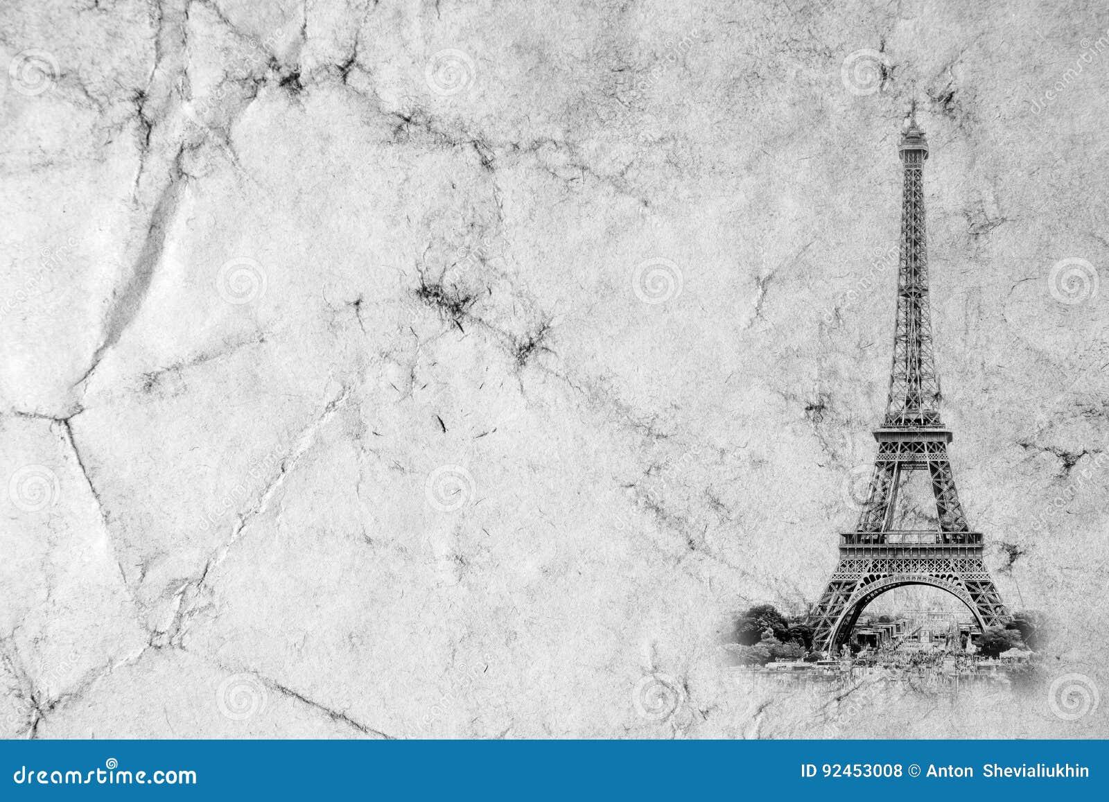 De Toren van Eiffel in Parijs Uitstekende meningsachtergrond Oude retro de stijlfoto van reiseiffel met barsten verfrommeld docum