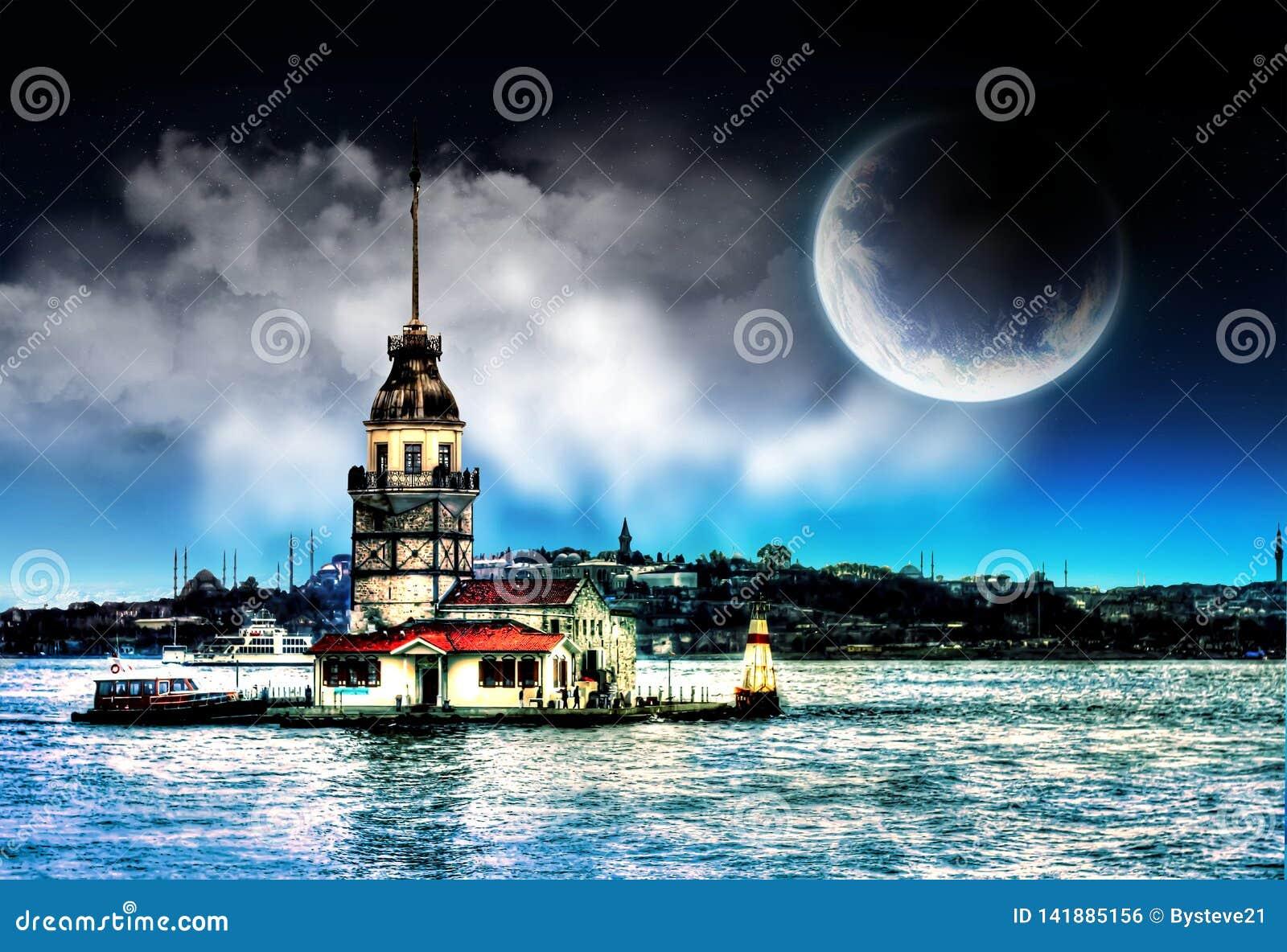 De Toren van het meisje in Istanboel Turkije