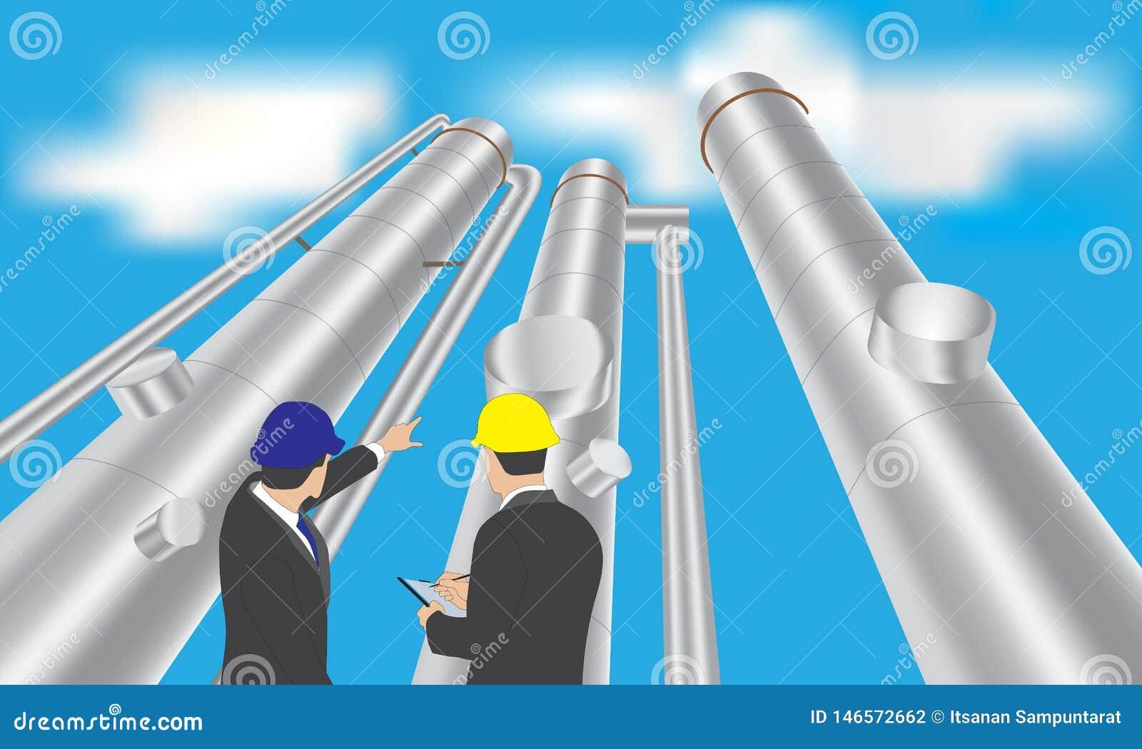 De toren van de olieraffinaderij met zakenman
