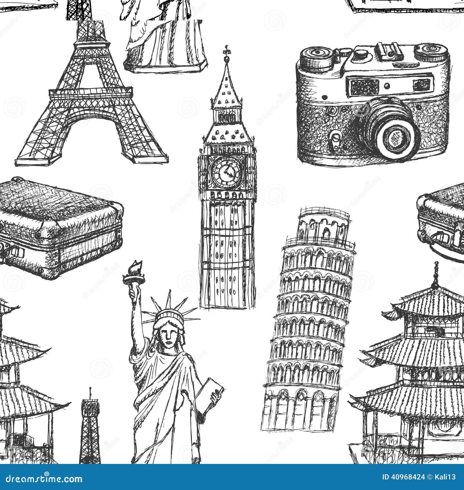 De toren van schetseiffel, de toren van Pisa, Big Ben, suitecase, photocamera