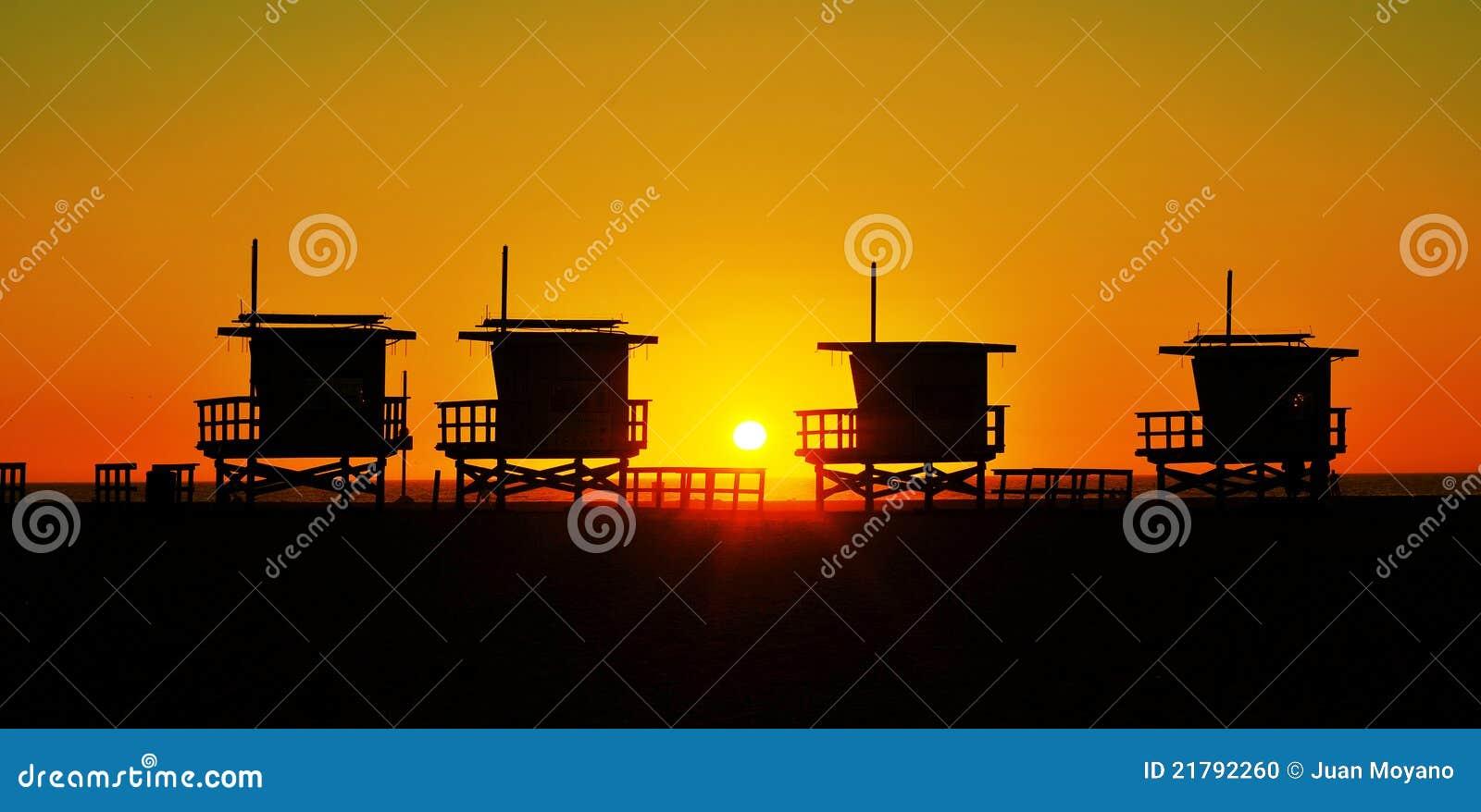 De torens van de badmeester in het Strand van Venetië, Verenigde Staten