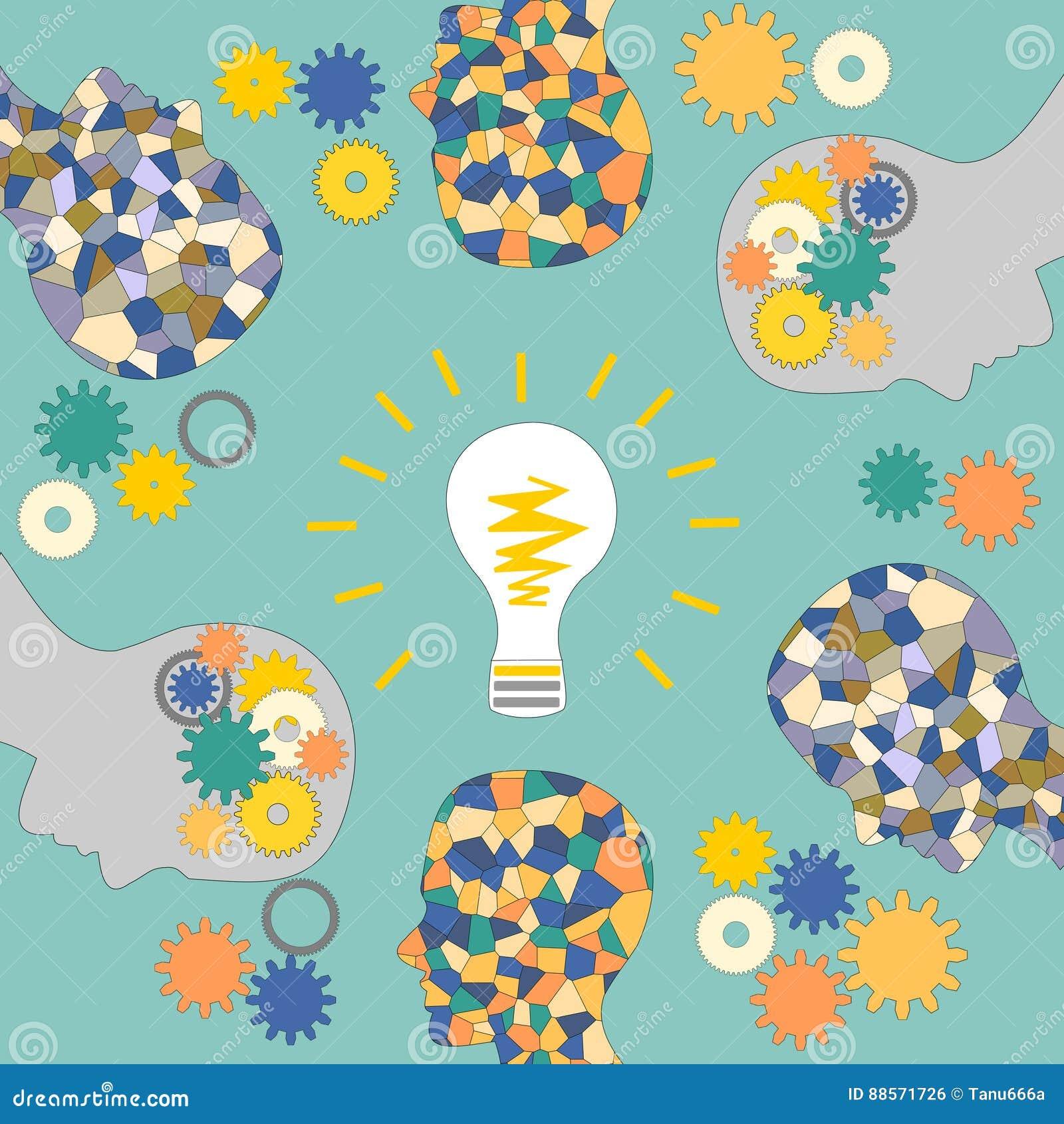 De totstandkoming van ideeën, het mozaïekhoofd van de mens, verlichting