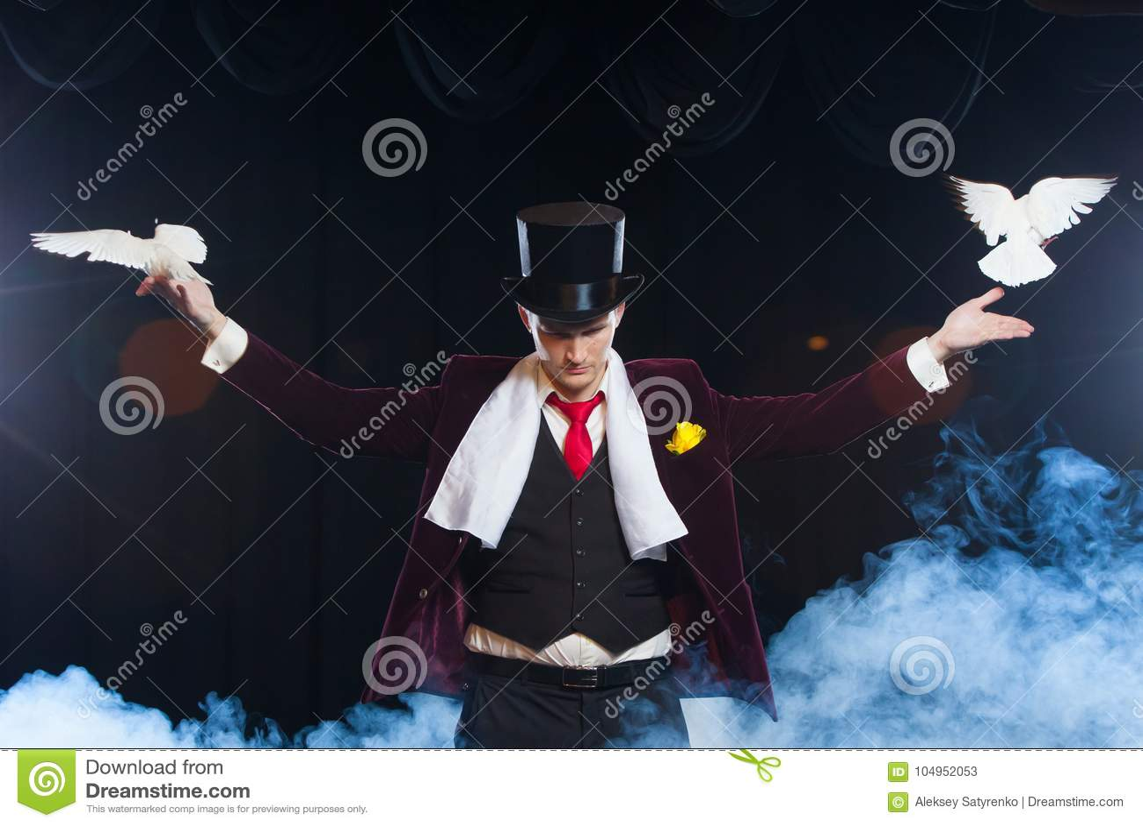De tovenaar met twee vliegende witte Duiven op een zwarte die achtergrond in een mooie geheimzinnige rook wordt gehuld