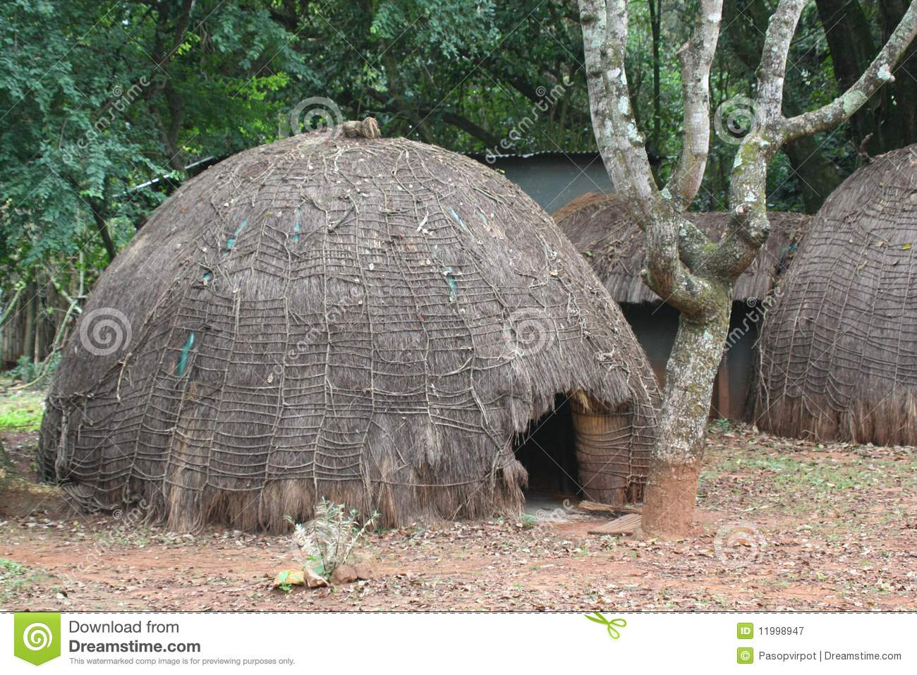 De traditionele hut van Swasiland