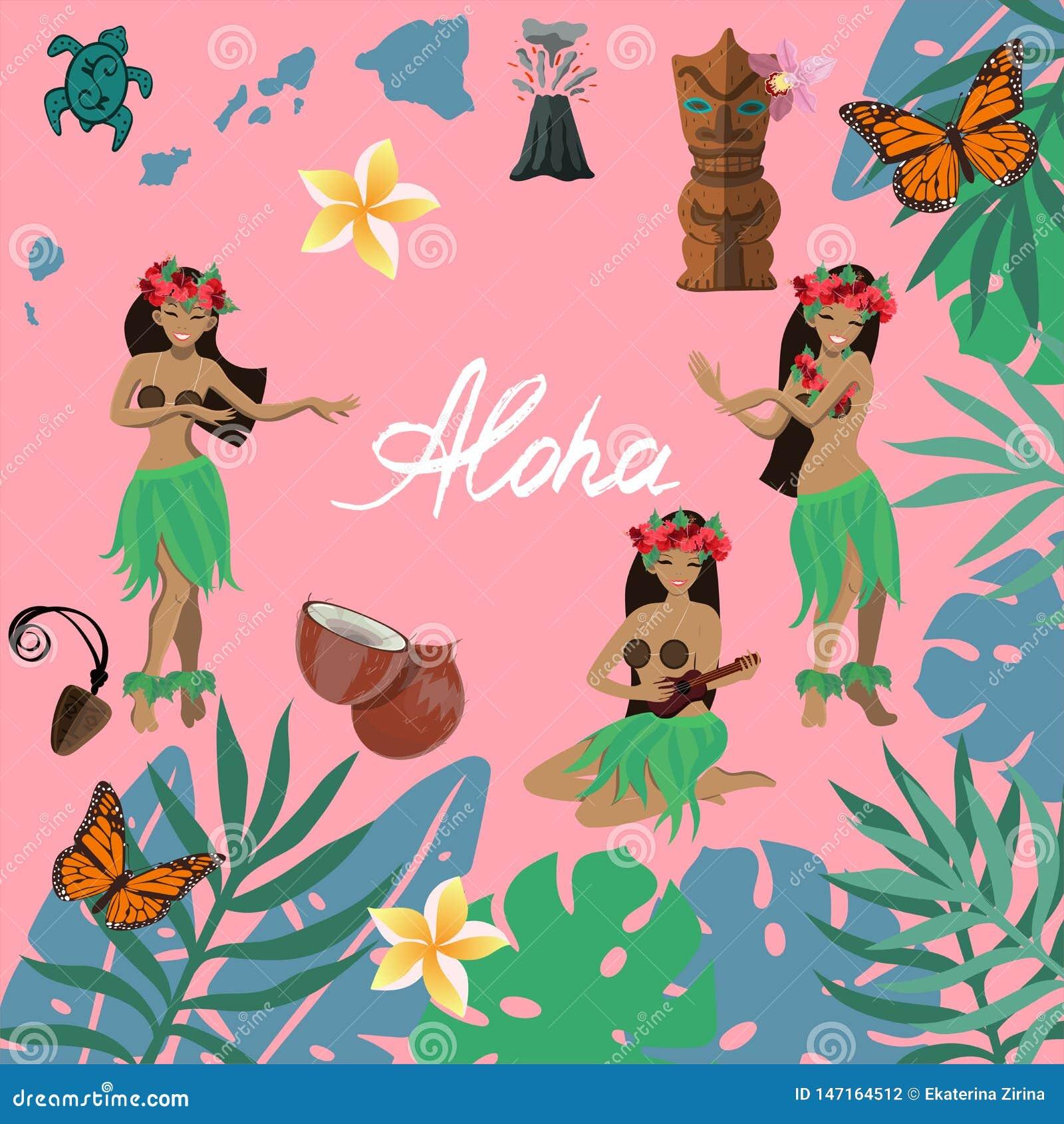 De traditionele symbolen van Hawaiiaanse cultuurreeks, hibiscus bloeien, meisjes het dansen hula en het spelen ukeleles, volan ei