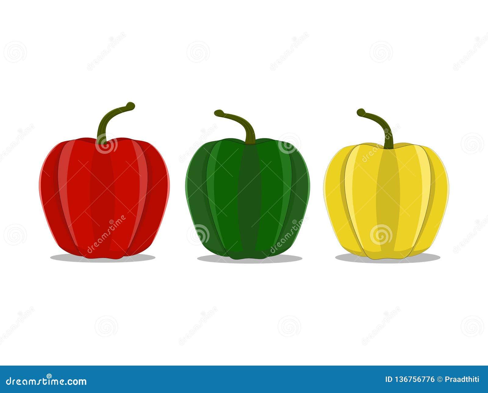 De tre färgköttspanska pepparen på den vita bakgrunden