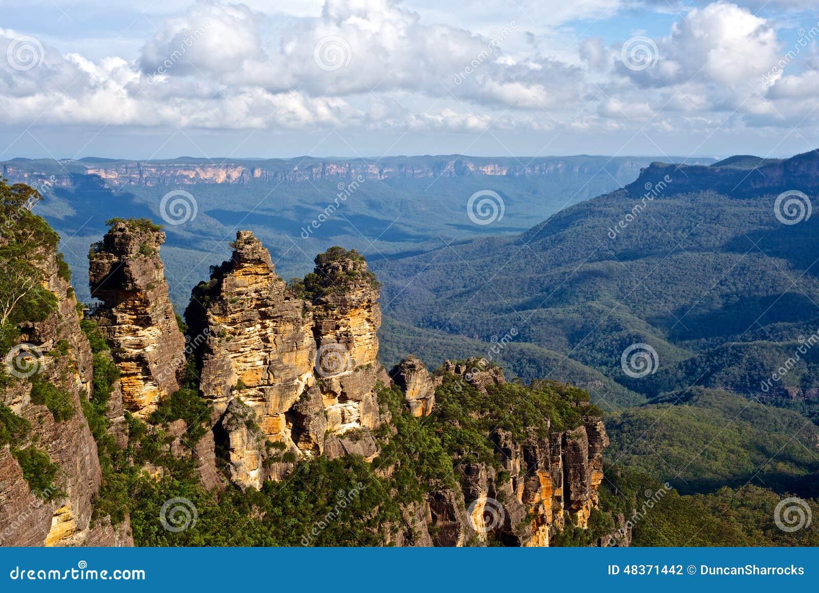 De tre systrarna, blåa berg, New South Wales, Australien