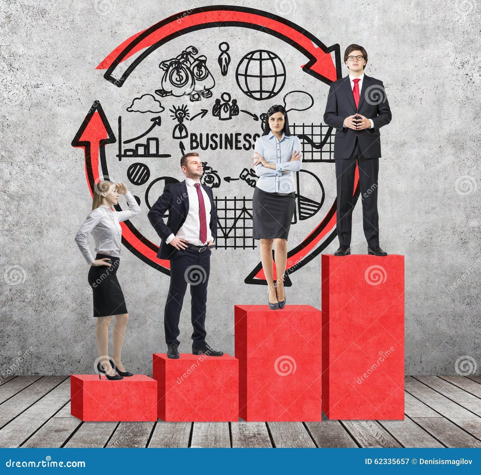 De treden als reusachtige rode grafiek zijn in de ruimte met concrete vloer en eigentijdse muur De bedrijfsmensen bevinden zich o
