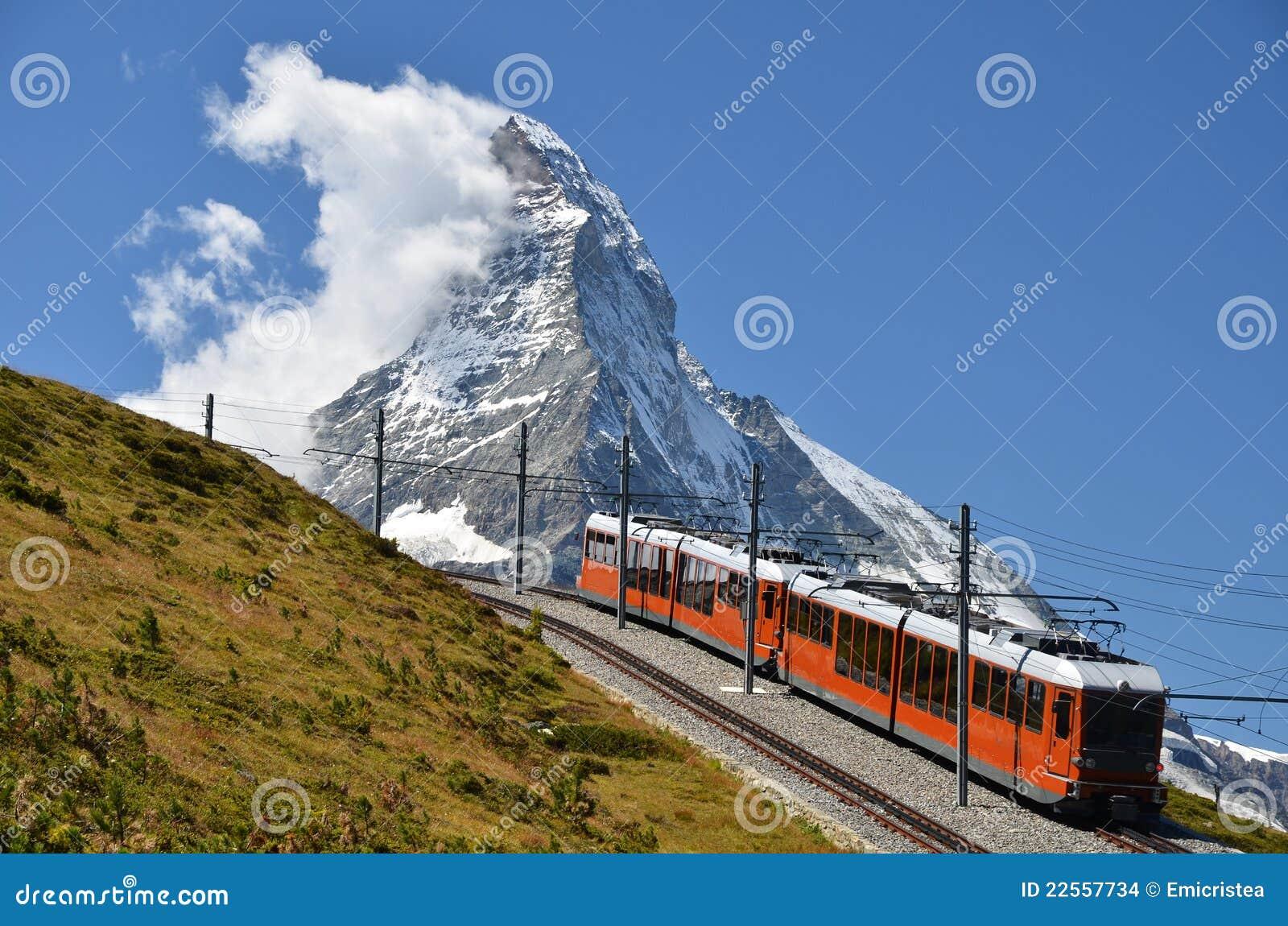 De trein van Gornergrat en Matterhorn, Zwitserland