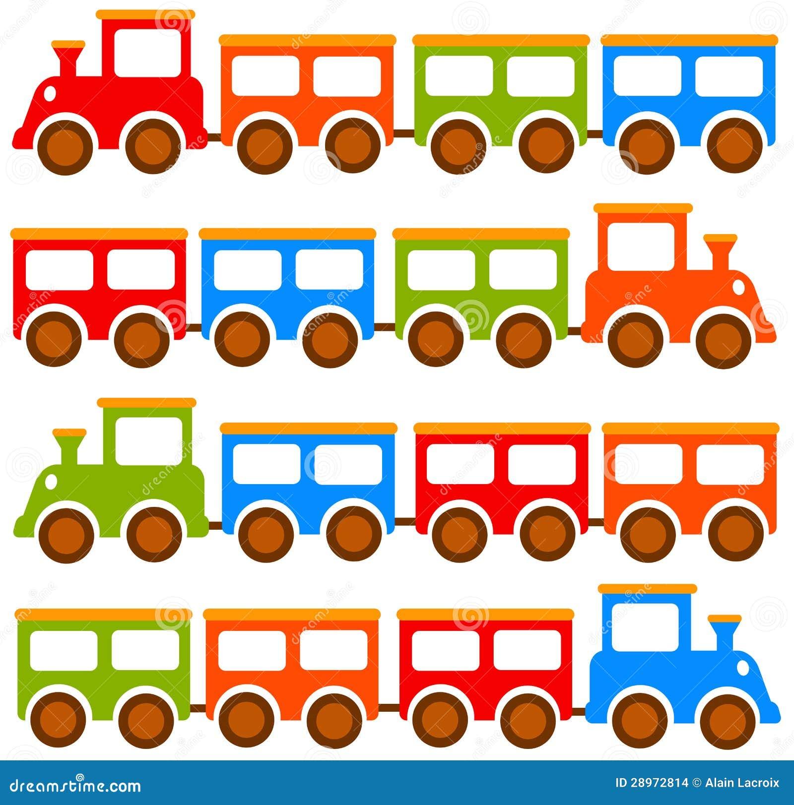 De treinen van het stuk speelgoed