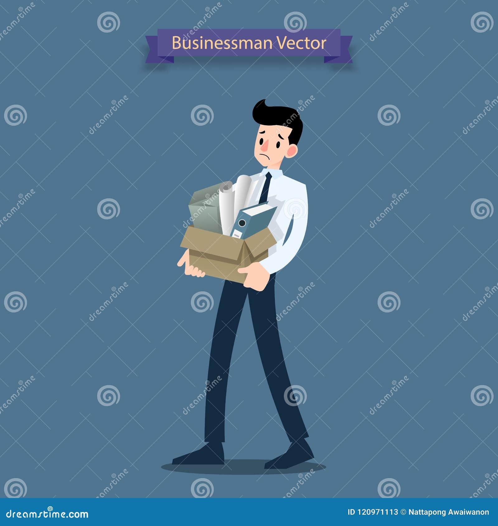 De tribune van de teleurstellingszakenman en het dragen van zijn kartondoos met persoonlijke materiaalbezittingen, die het bureau