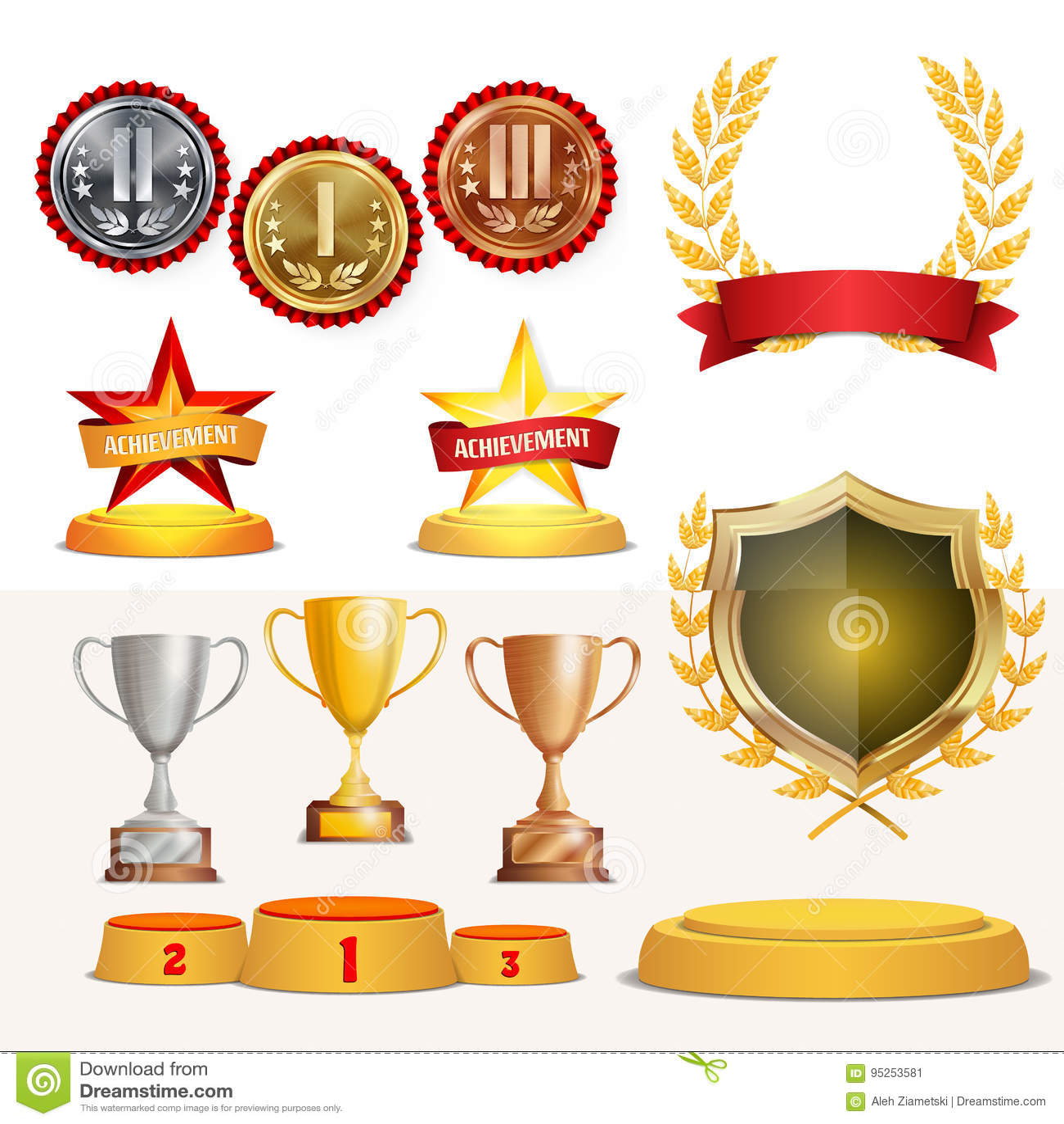 De trofee kent Koppen, Gouden Laurel Wreath With Red Ribbon en Gouden Schild toe Realistische Gouden, Zilveren, Bronsvoltooiing