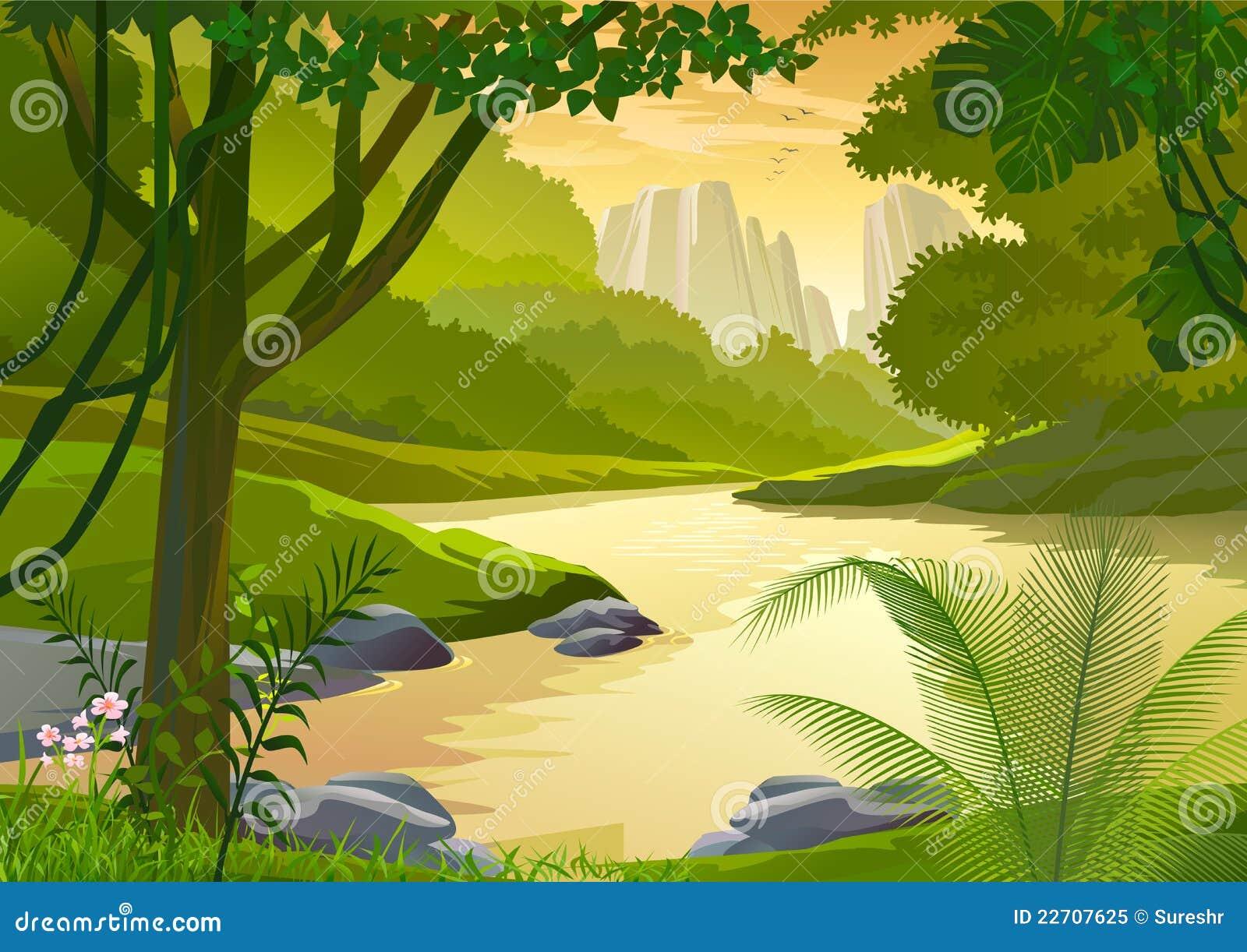 De tropische bomen van het Regenwoud en zoet waterstroom