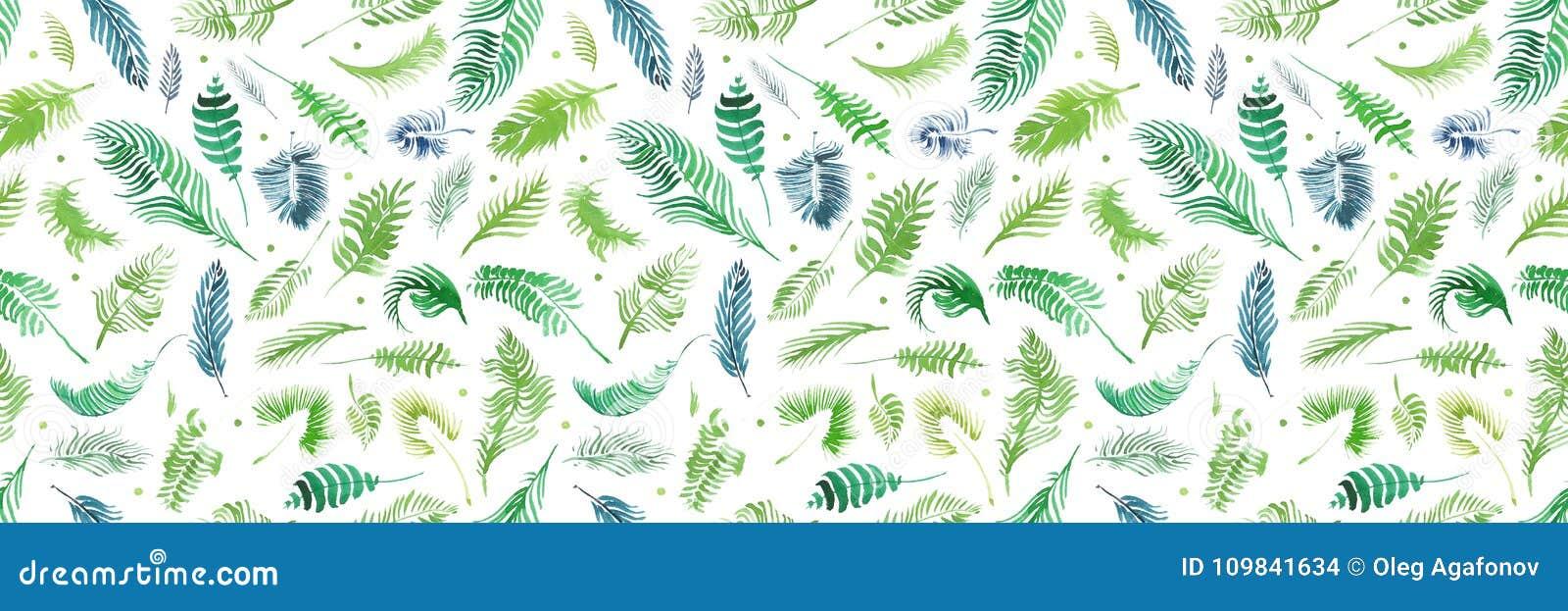 De tropische palmbladen, wildernis verlaat naadloze bloemenpatroonachtergrond, Waterverf tropisch decor