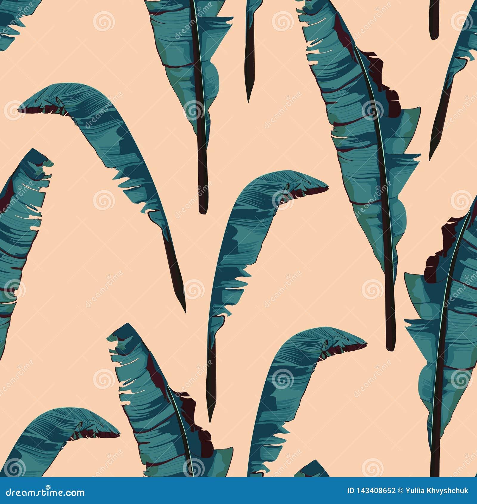 De tropische zomer die naadloos patroon met het blad van de palmbanaan schilderen In bos exotisch behang op beige achtergrond