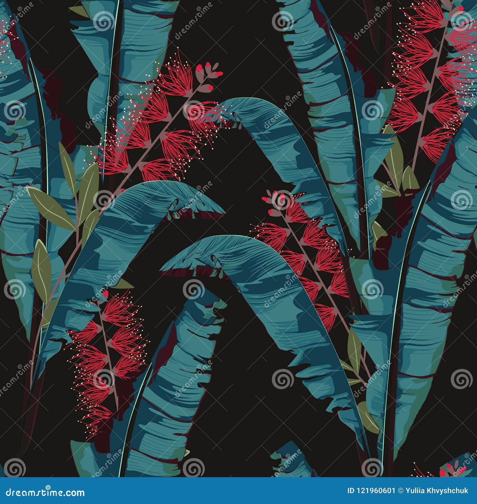 De tropische zomer die naadloos vectorpatroon met banaanblad schilderen Bloemen het paradijsbloemen van wildernisprotea