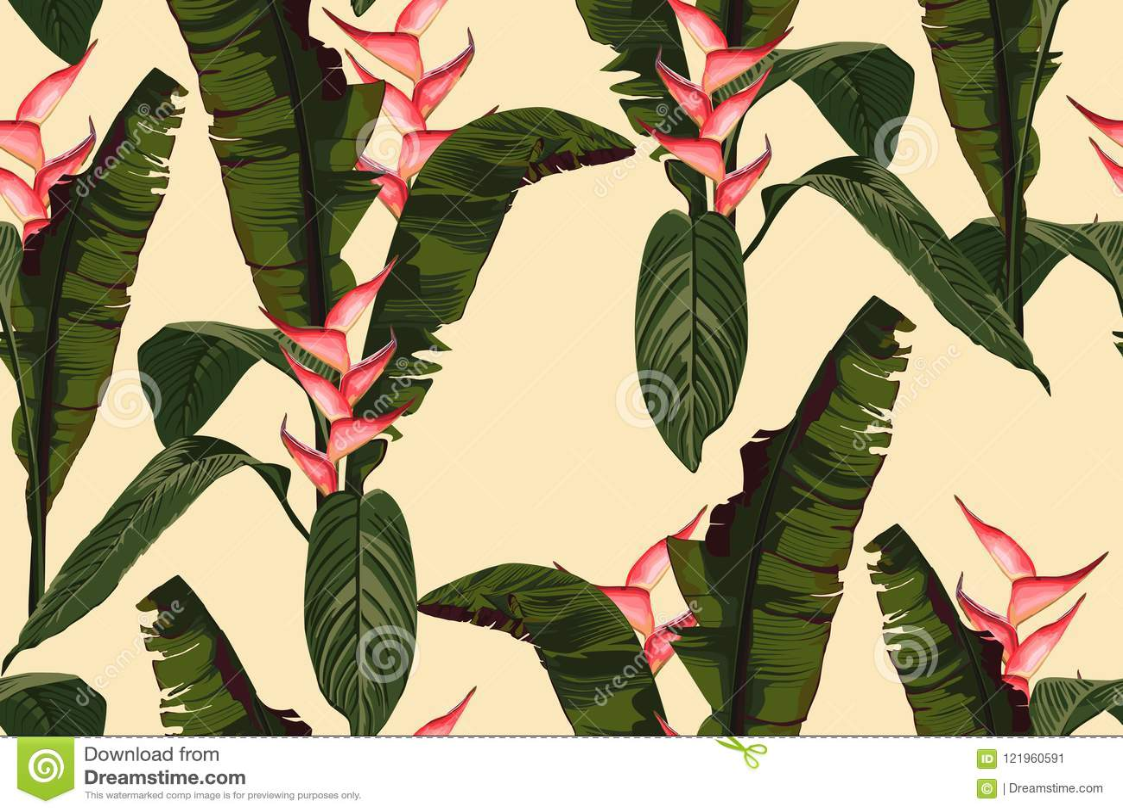 De tropische zomer die naadloos vectorpatroon met het blad en de installaties van de palmbanaan schilderen Bloemen het paradijsbl