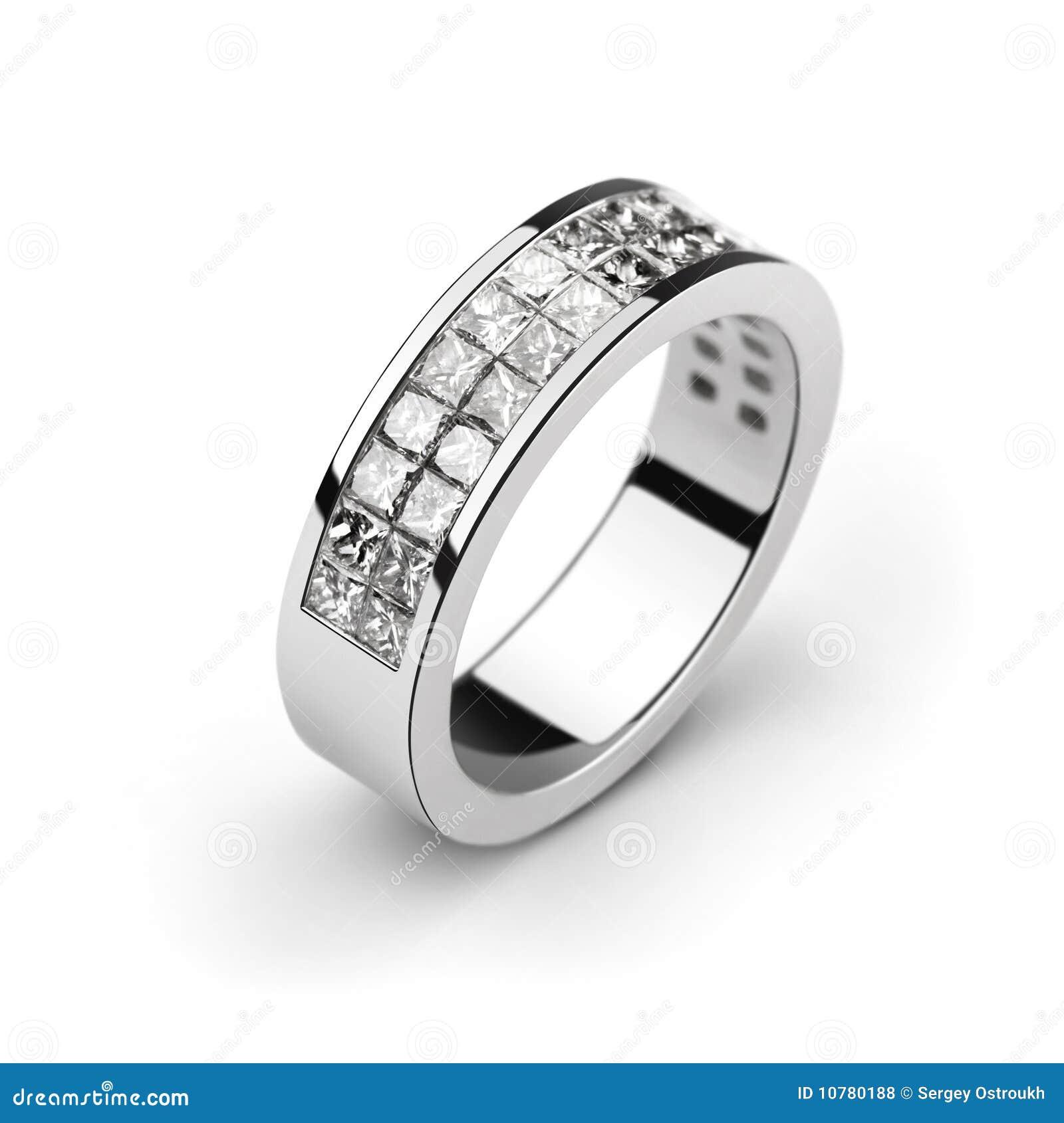 De trouwring van het witgoud met witte diamanten, besnoeiing p