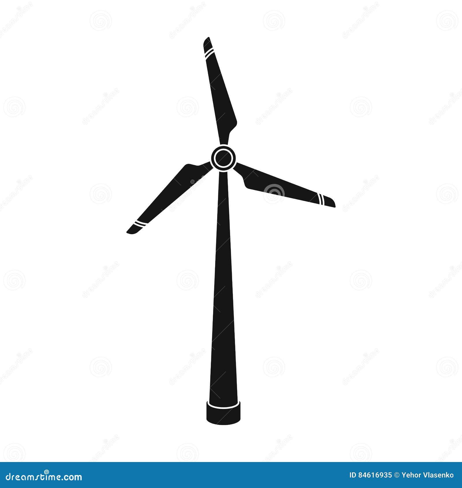 De turbinepictogram van de windenergie in zwarte die stijl op witte achtergrond wordt geïsoleerd De voorraad vectorillustratie va