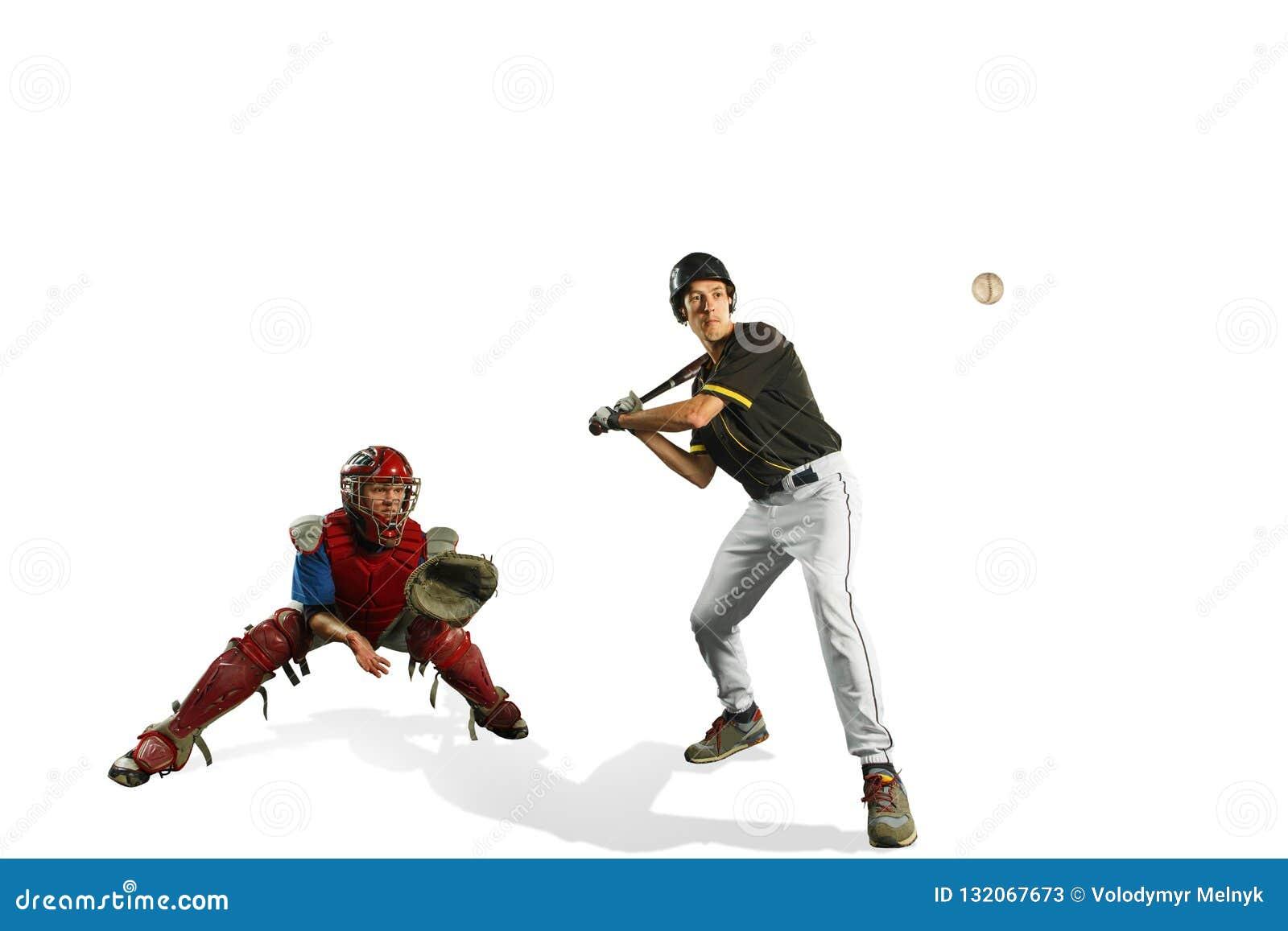 De två caucasian manbasebollspelarna som spelar i studi Konturer som isoleras på vit bakgrund