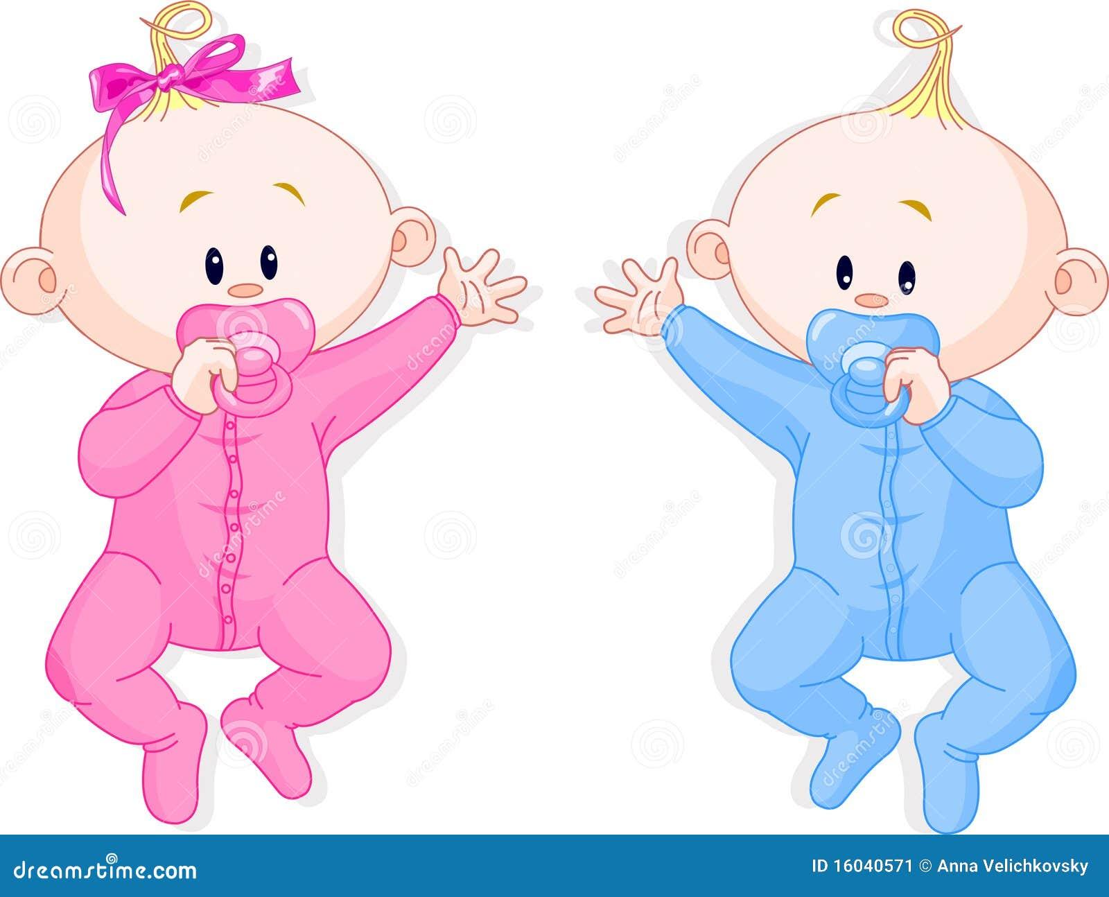 De tweelingen houden de fopspenen