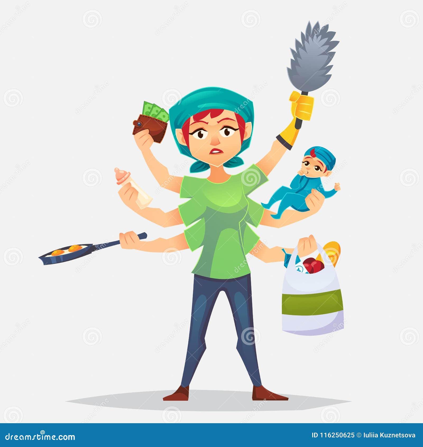 De typische vrouw die veel karweien heeft om Multitasking moeder te doen De moderne vrouw - met baby, die kokend en maakt een sho