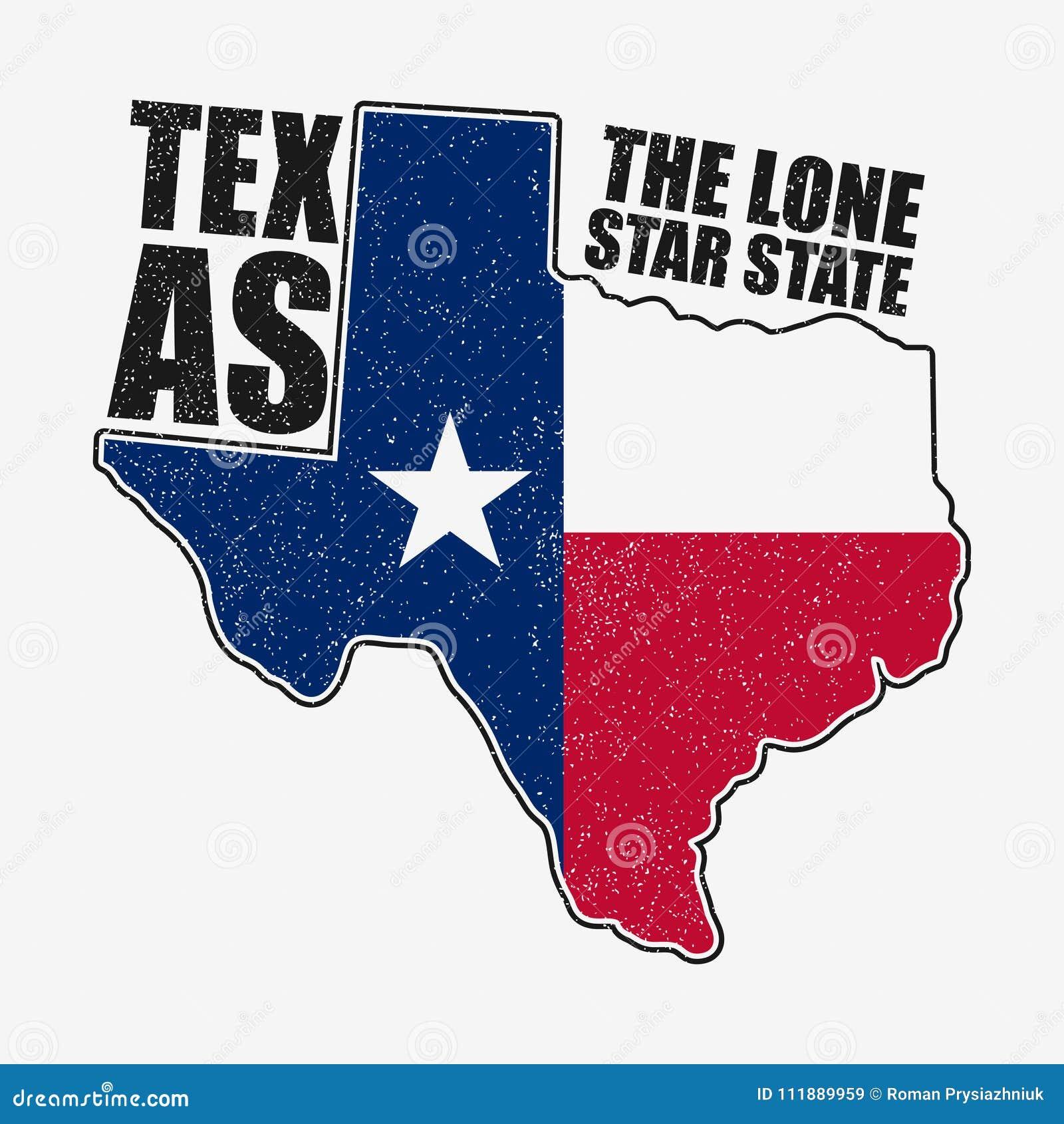 De typografiegrafiek van Texas voor t-shirt met vlag en kaart van staat Grungedruk voor kleding, kleren Vector
