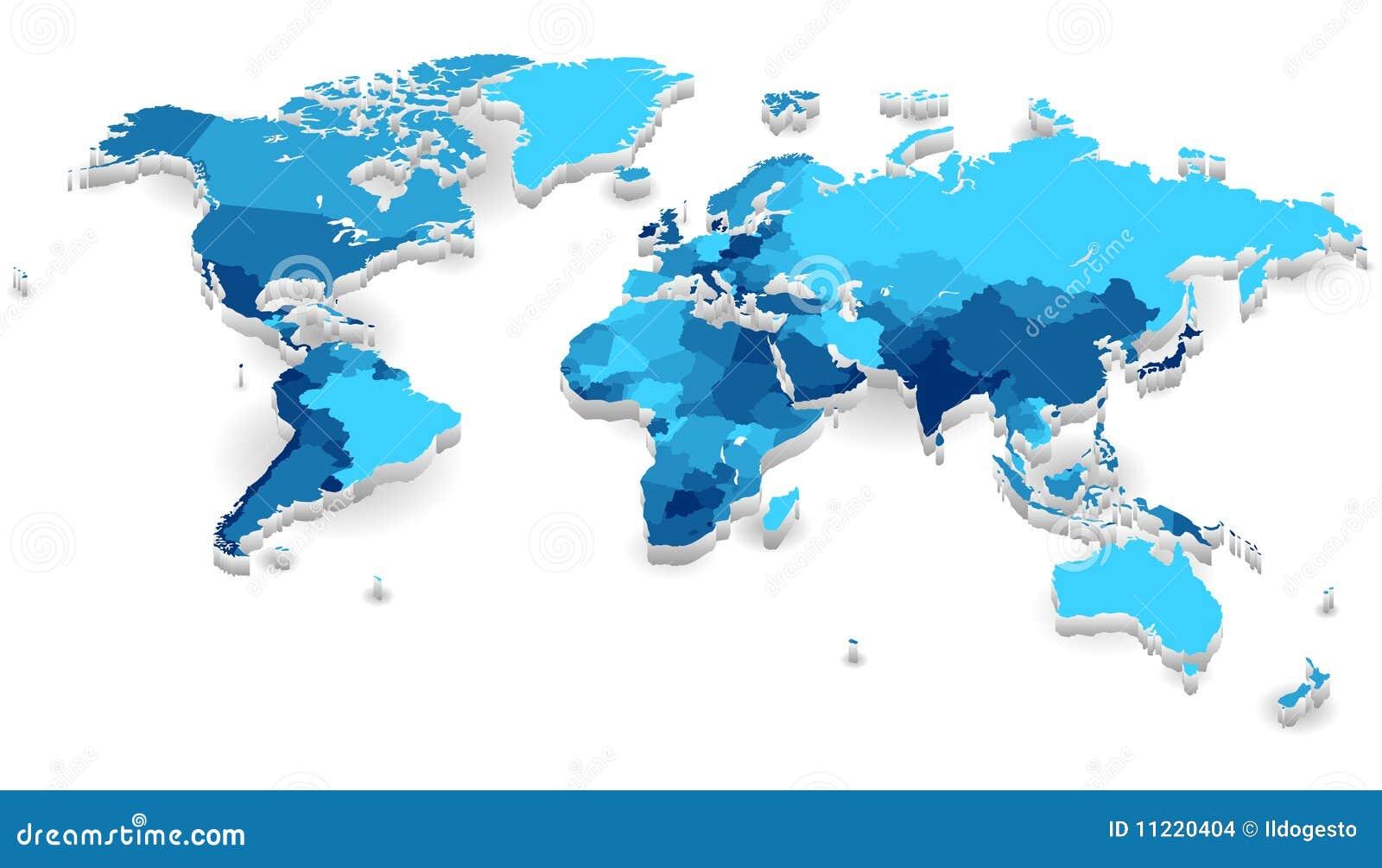 De uitgedreven kaart van de wereld met landen vector illustratie afbeelding 11220404 - Thuis schommelstoel van de wereld ...