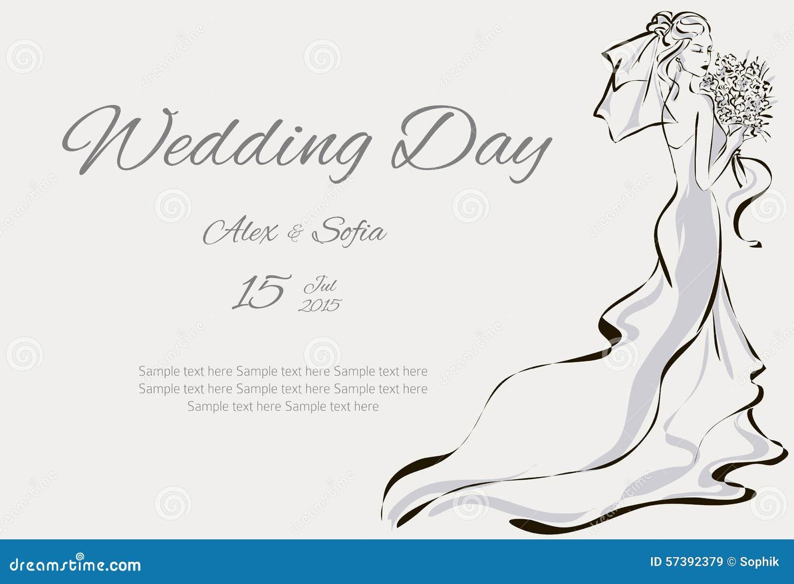 De uitnodiging van de huwelijksdag met mooie fiancee