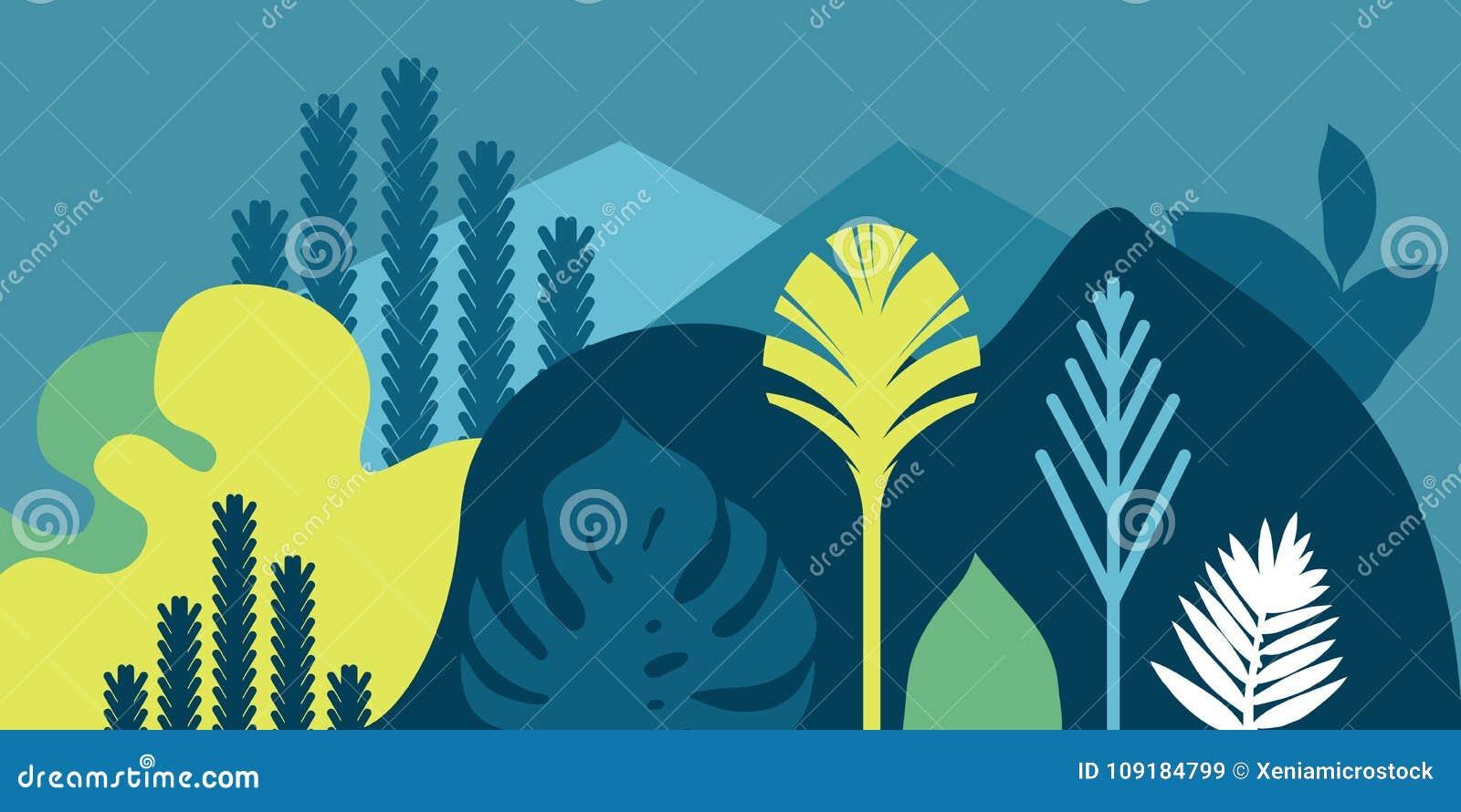 De uitnodiging van de kaartbanner met de de tropische het modelleren heuvels en bergen van installatiesbomen Behoud van het milie