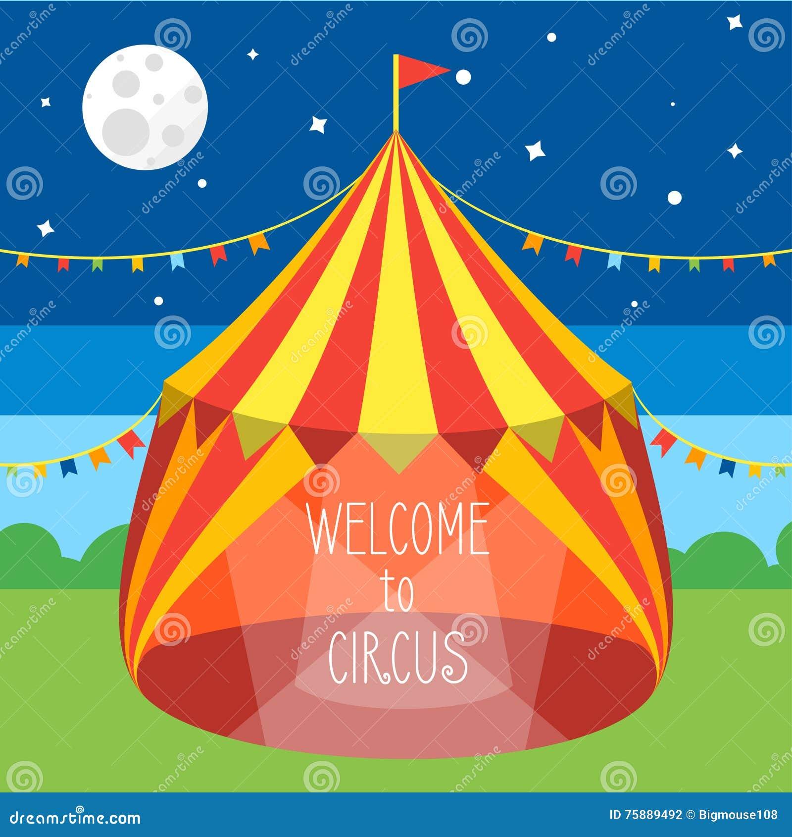 De Uitnodigingskaart van de circustent Vector