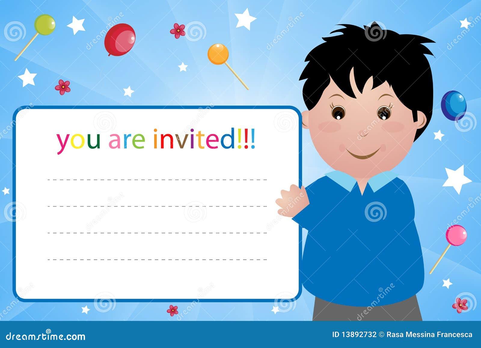 De uitnodigingskaart van de partij jongen stock fotografie beeld 13892732 - Lay outs ruimte van de jongen ...