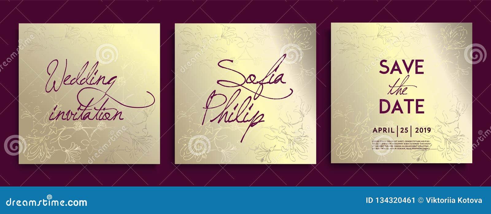 De uitnodigingskaarten van het luxehuwelijk met gouden Decoratieve Bloemen en Kruiden Reeks van kaart met gouden bloem, bladeren