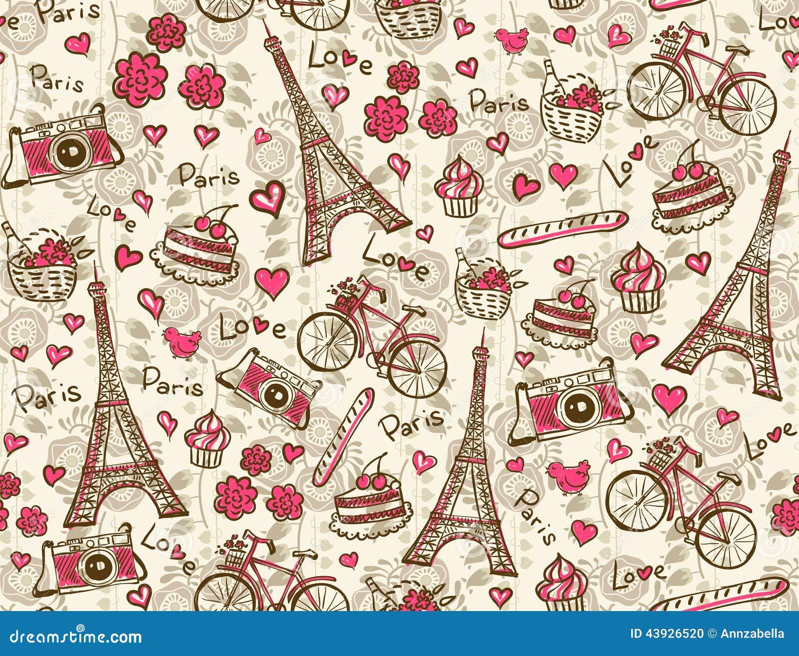 de uitstekende achtergrond van parijs 43926520 - Symbolen Behang