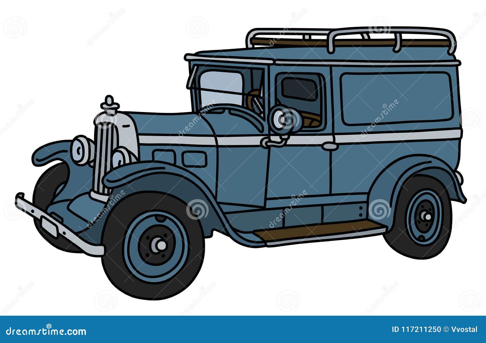 De uitstekende blauwe de dienstauto