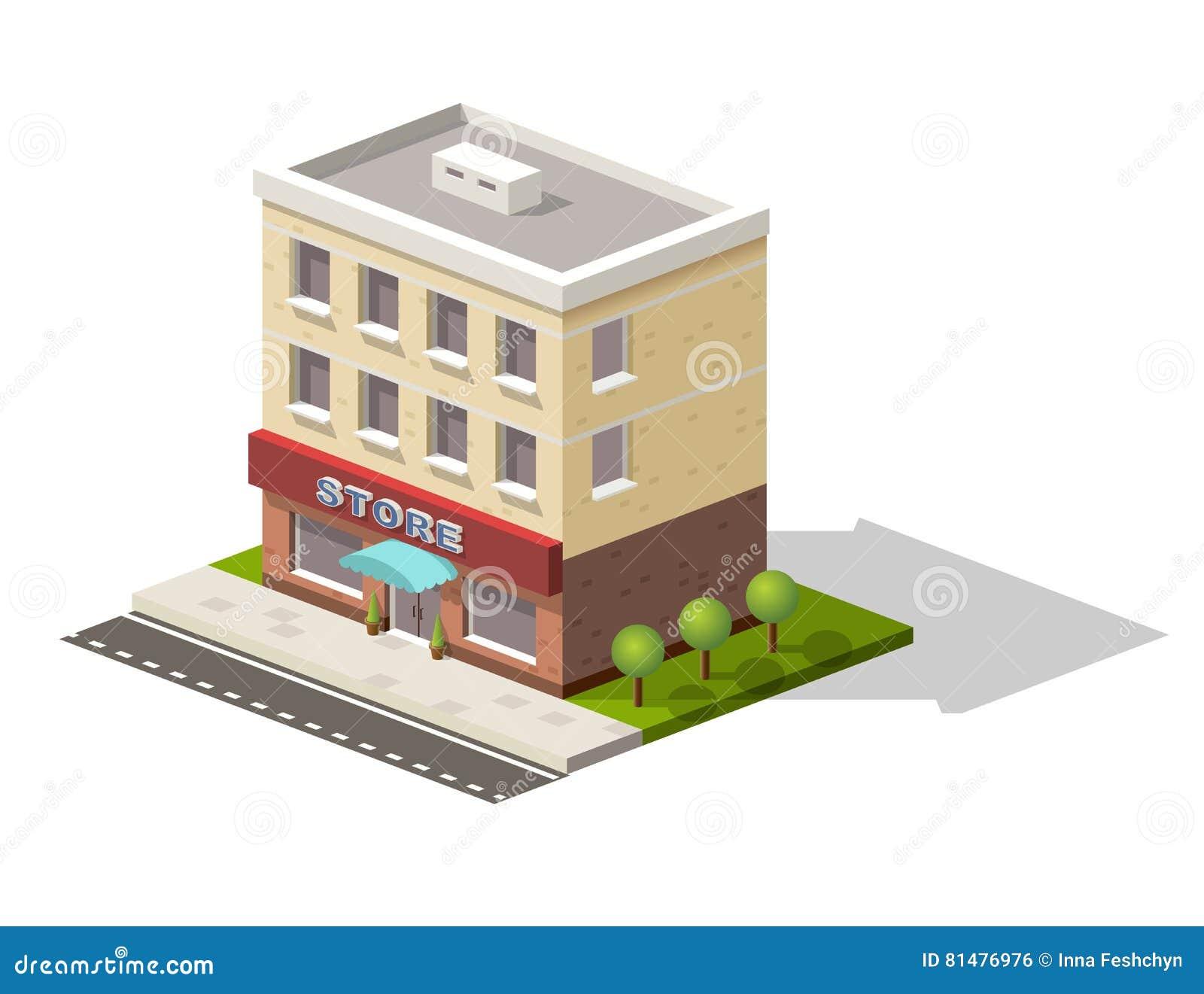 De uitstekende de straatmening van de marktopslag met de moderne isometrische pictogrammen van het supermarktwinkelcomplex plaats