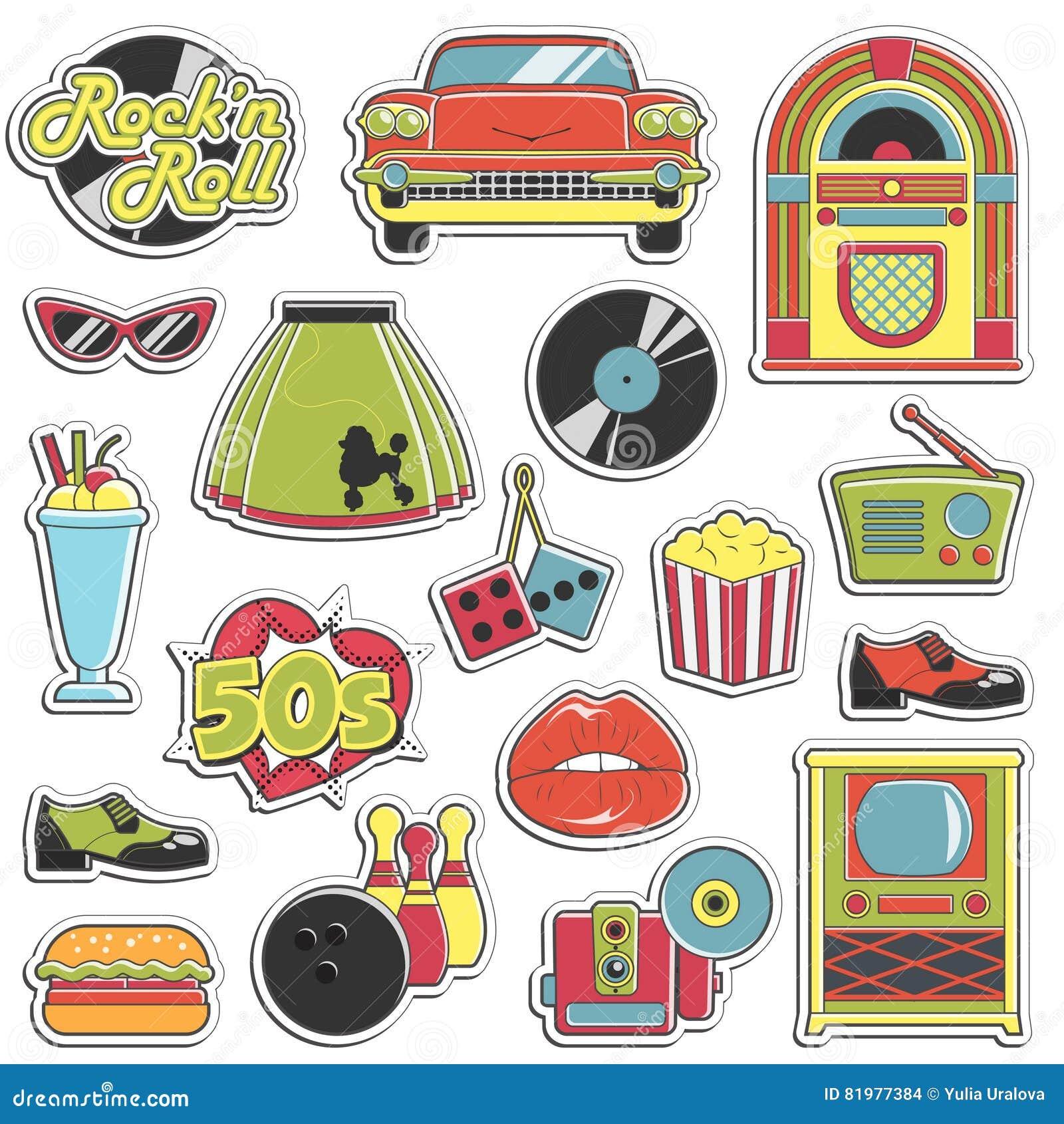 De uitstekende geplaatste stickers van de jaren  50 retro stijl