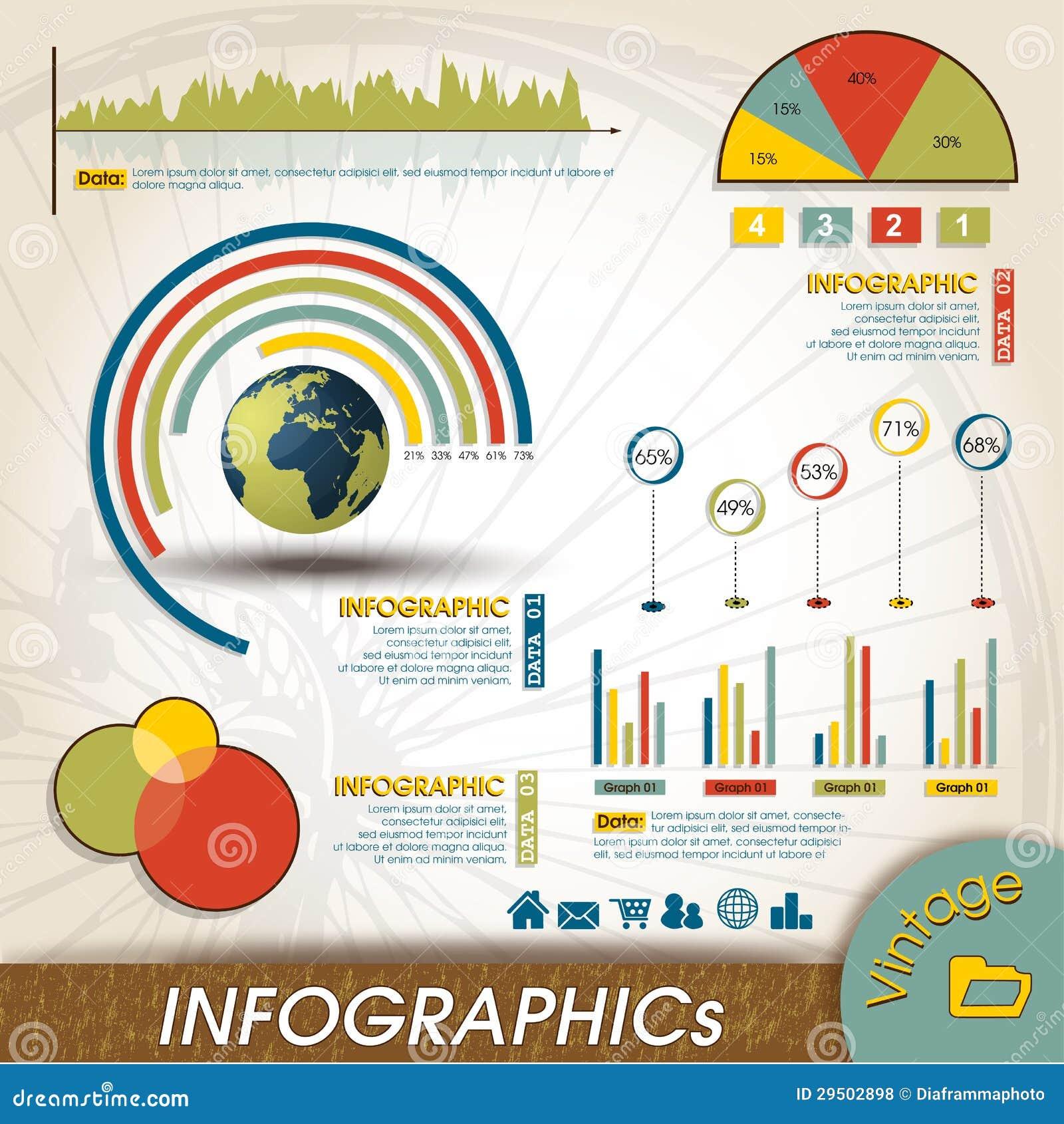 De uitstekende Inzameling van het Ontwerp Infographic, Grafieken en