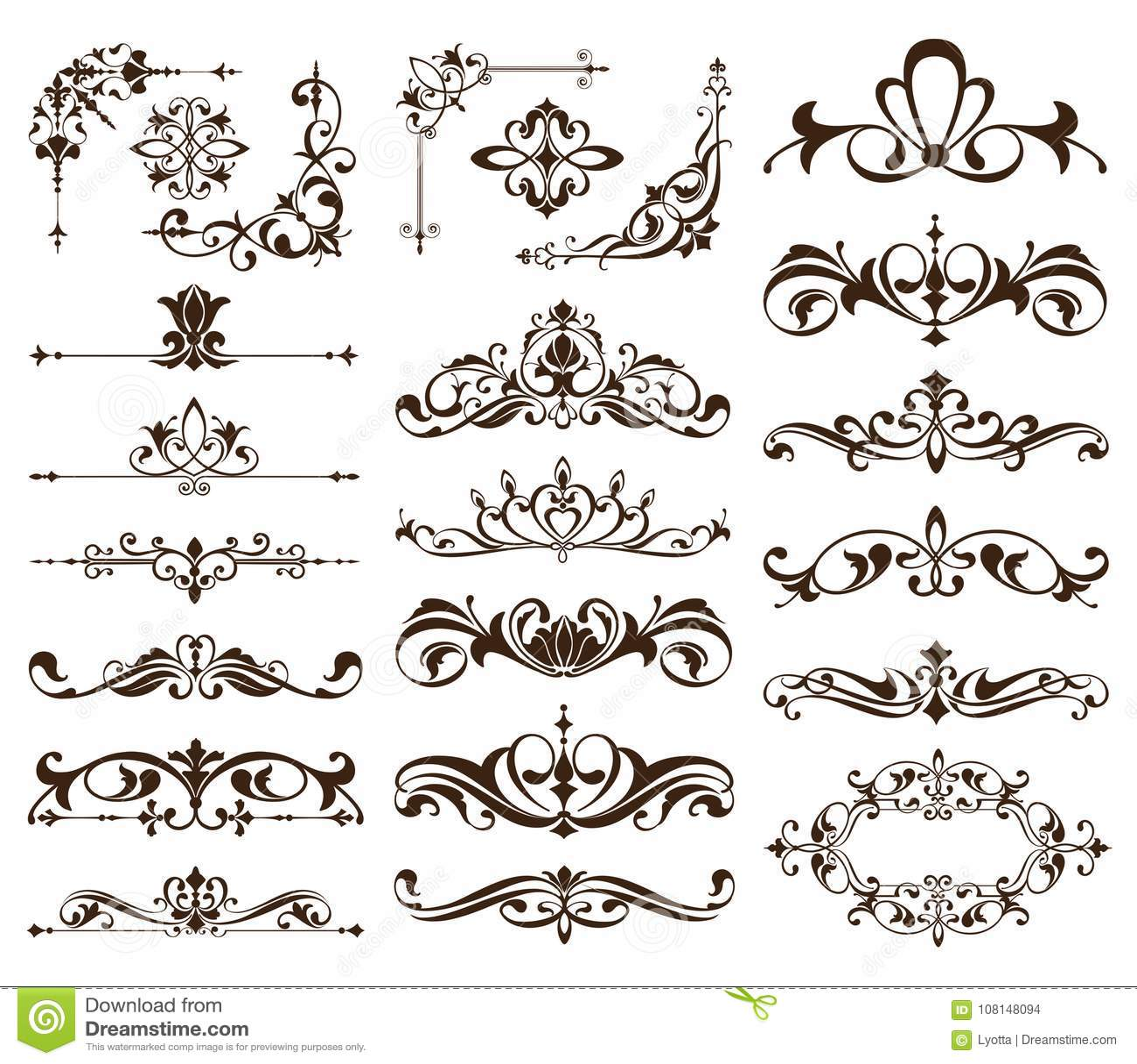 De uitstekende kaders, hoeken, grenzen met gevoelige wervelingen in Art Nouveau voor decoratie en ontwerp werkt met bloemenmotiev