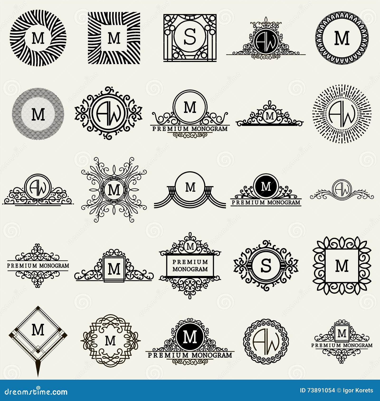 De uitstekende Malplaatjes van het Monogramontwerp Pictogrammensymbolen, Retro Etiketten, Kentekens, Silhouetten