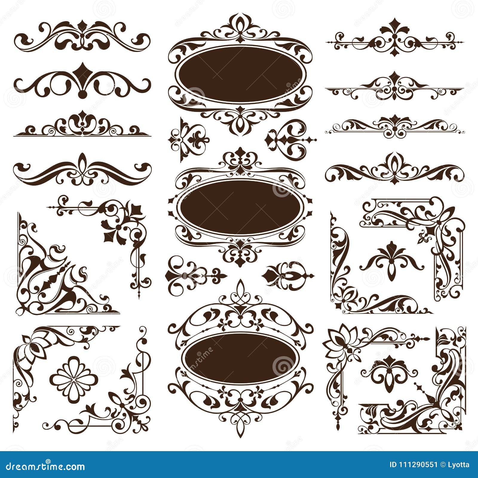 De uitstekende ontwerpelementen siert de randen retro stickers van kaderhoeken en damast vector vastgestelde illustratie