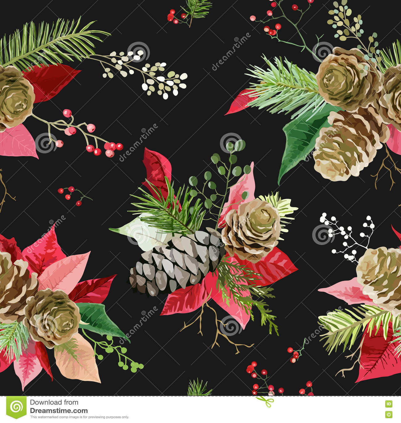 De uitstekende Poinsettia bloeien Achtergrond - Naadloos Kerstmispatroon