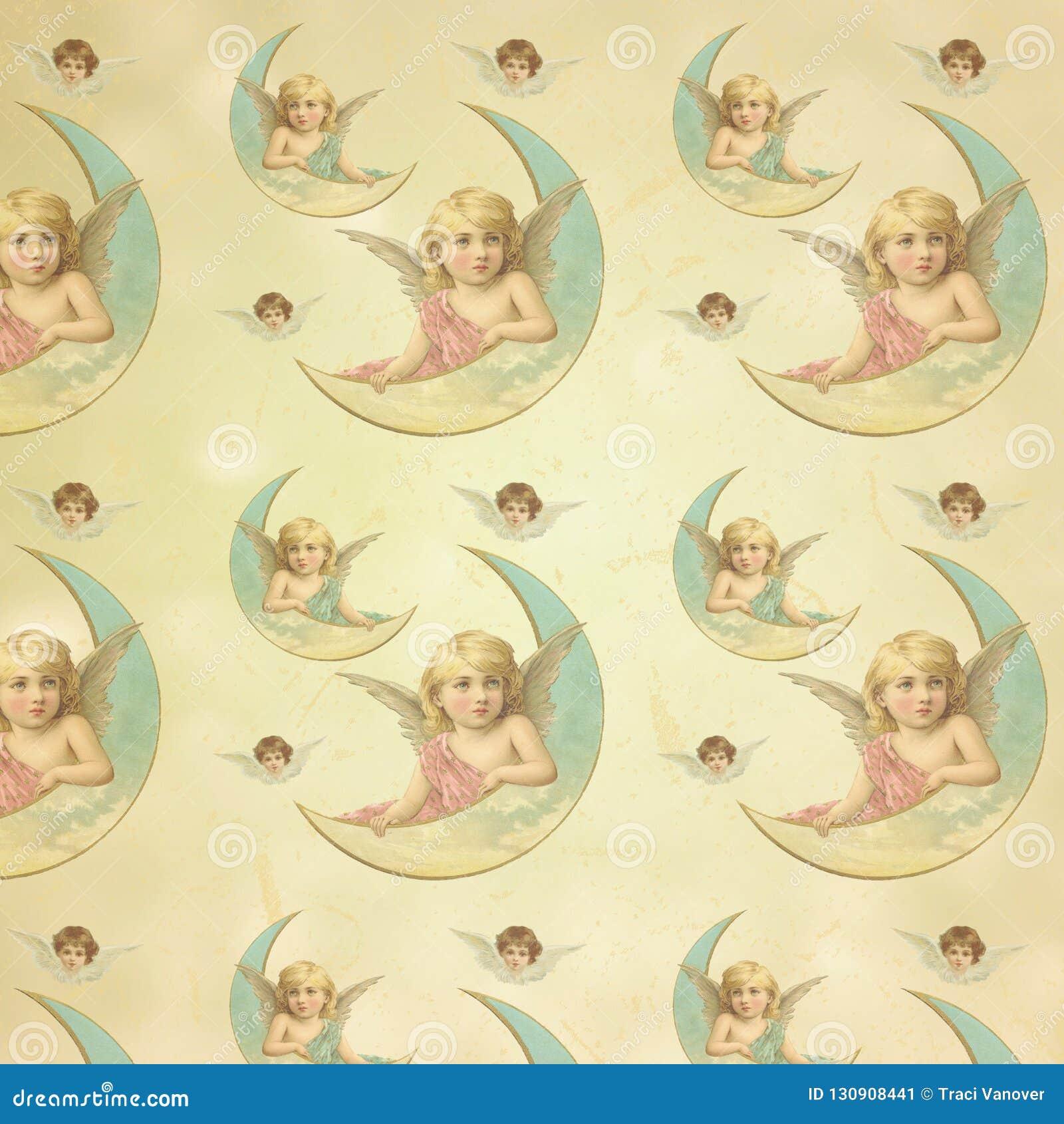 De uitstekende Victoriaanse Engelen - Pastelkleurengel - vormden Digitaal Document Als achtergrond - het Verpakken Document Ontwe