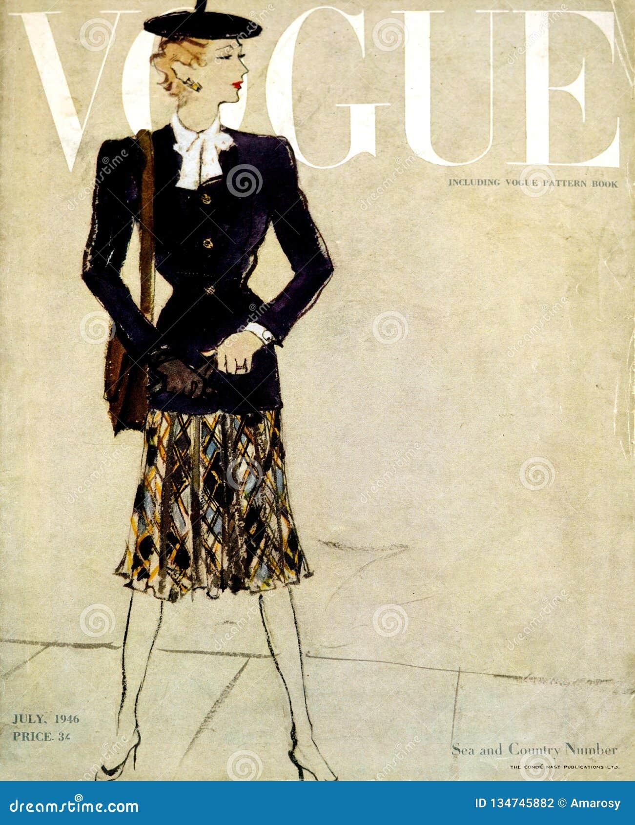 De uitstekende Vogue-dekking van het maniertijdschrift, van uitgave gedateerd Juli 1946