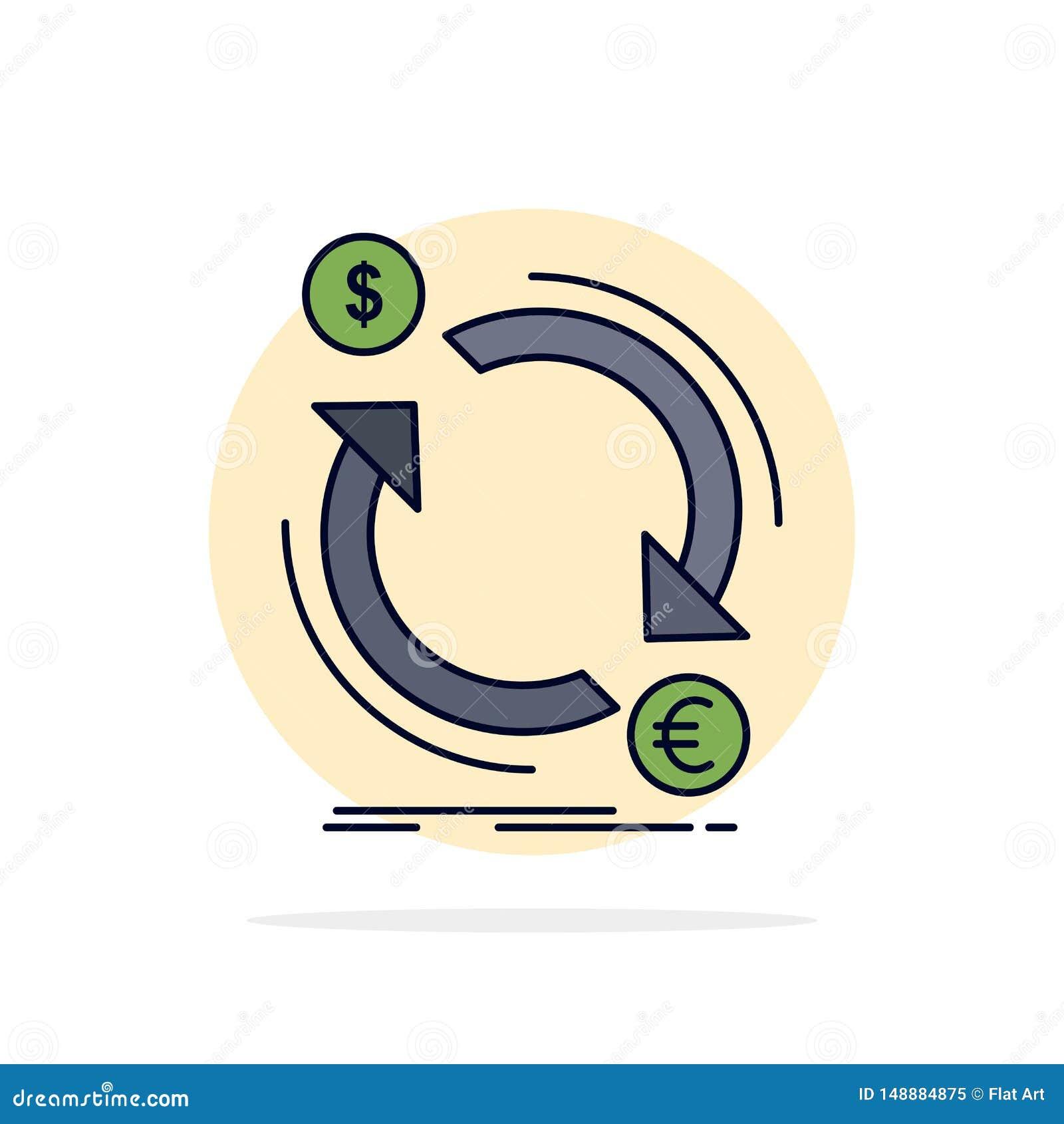 De uitwisseling, munt, financiën, geld, zet de Vlakke Vector van het Kleurenpictogram om