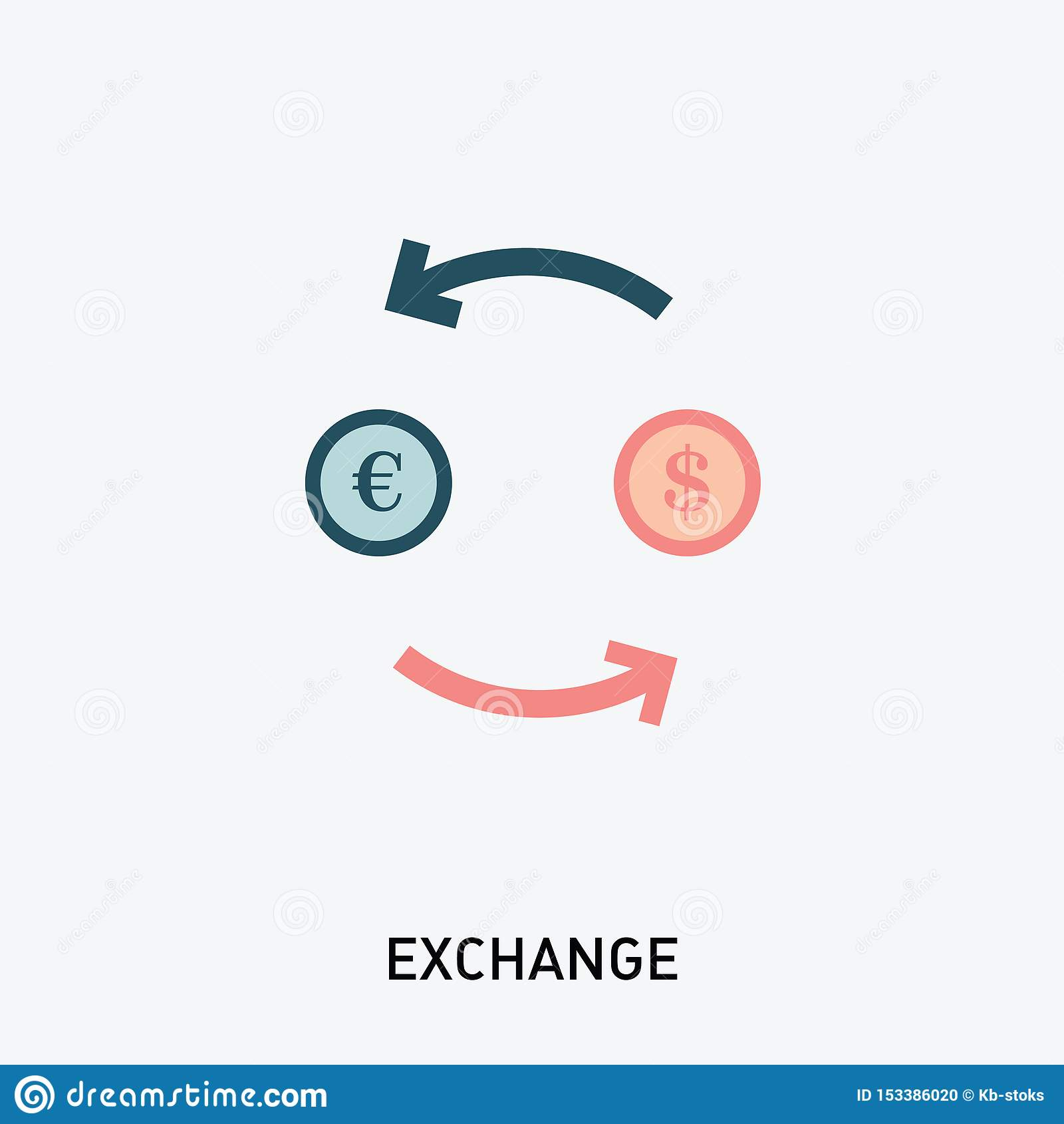 De Uitwisselingspictogram van de geldmunt Vectorillustratie in Moderne Vlakke Stijl