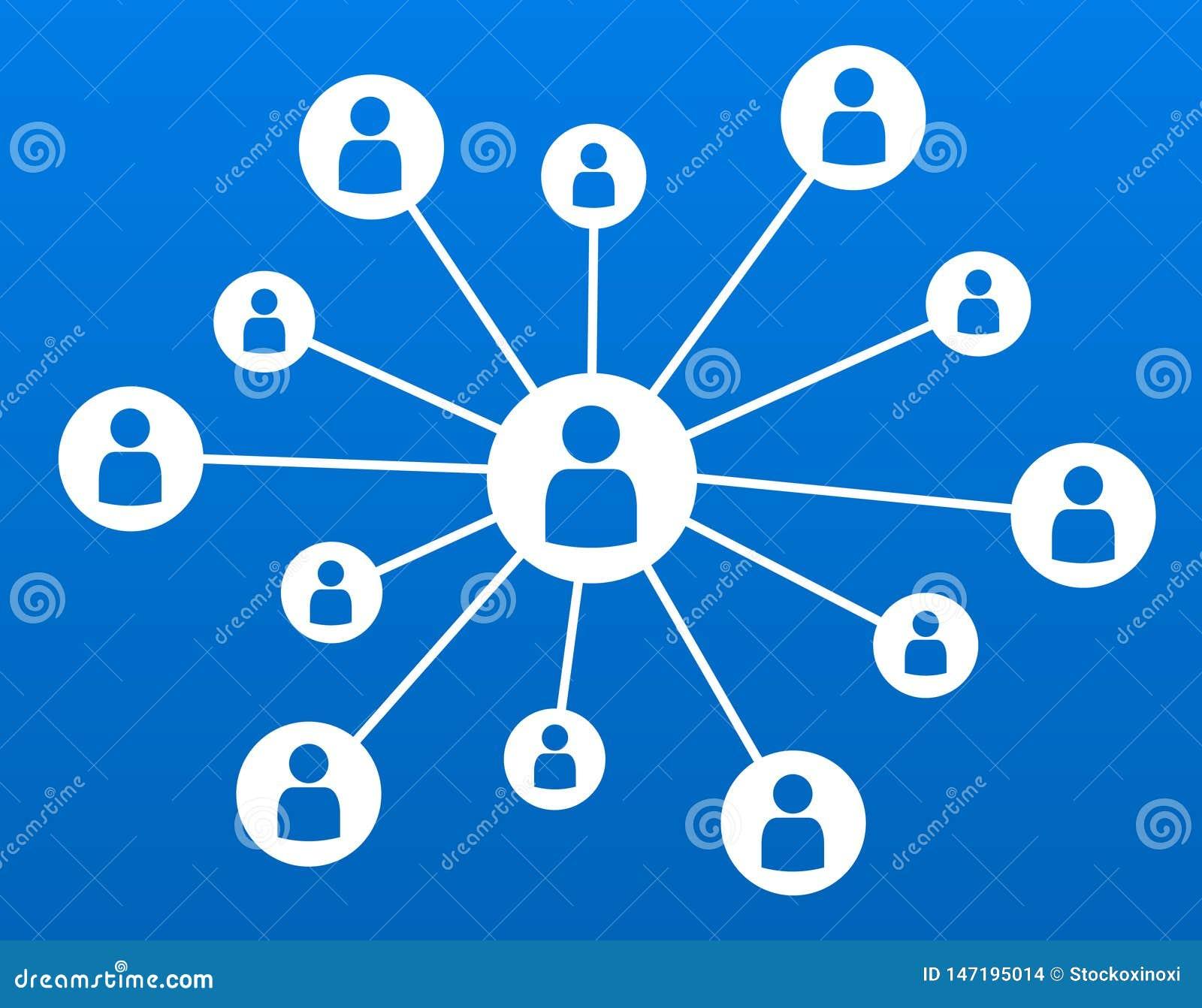 De uma comunicação empresarial social do conceito dos meios dos trabalhos em rede ilustração azul do vetor