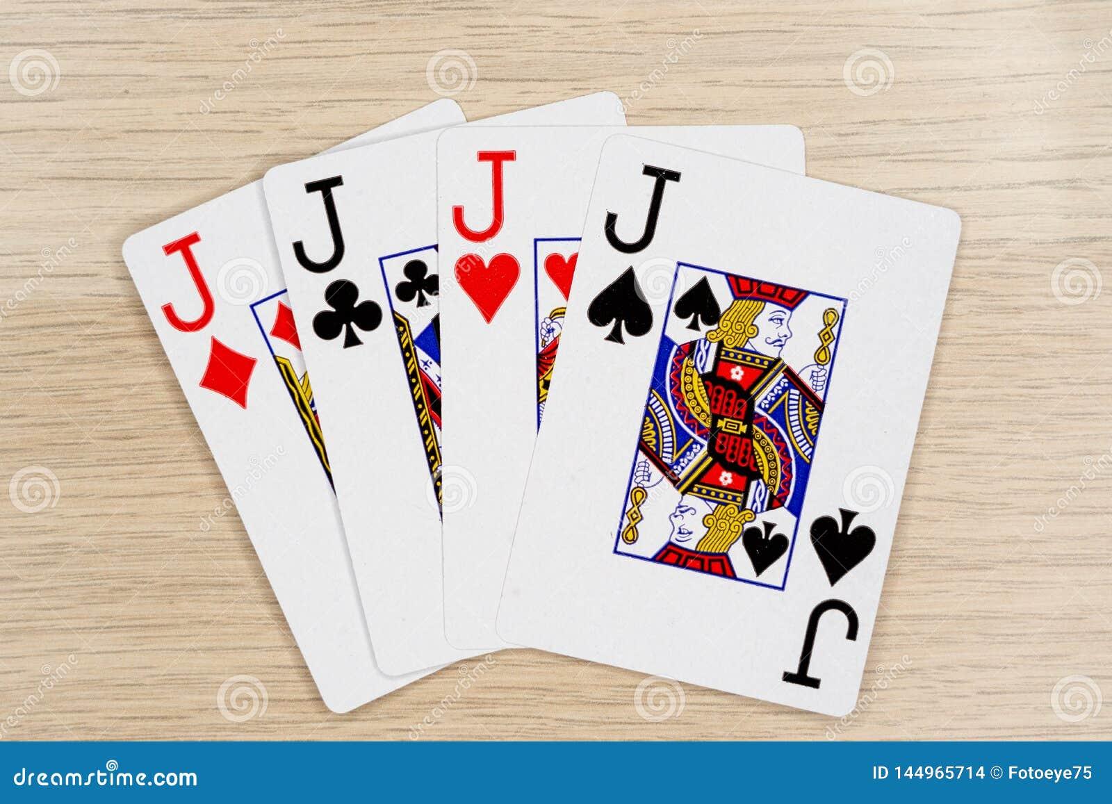 4 de una clase levanta - el casino que juega tarjetas del póker