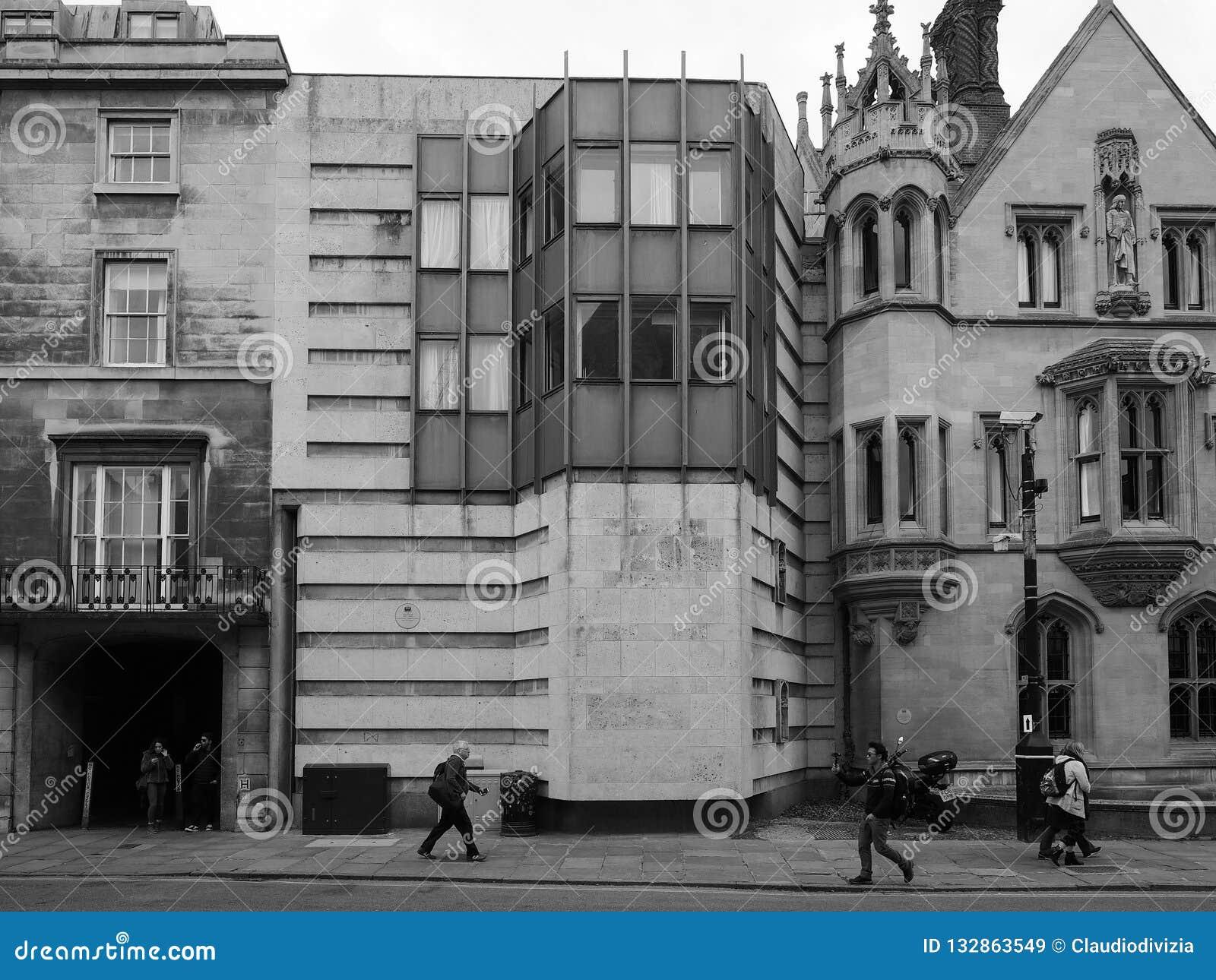 De Universiteitskeynes van de koning de Bouw in Cambridge in zwart-wit